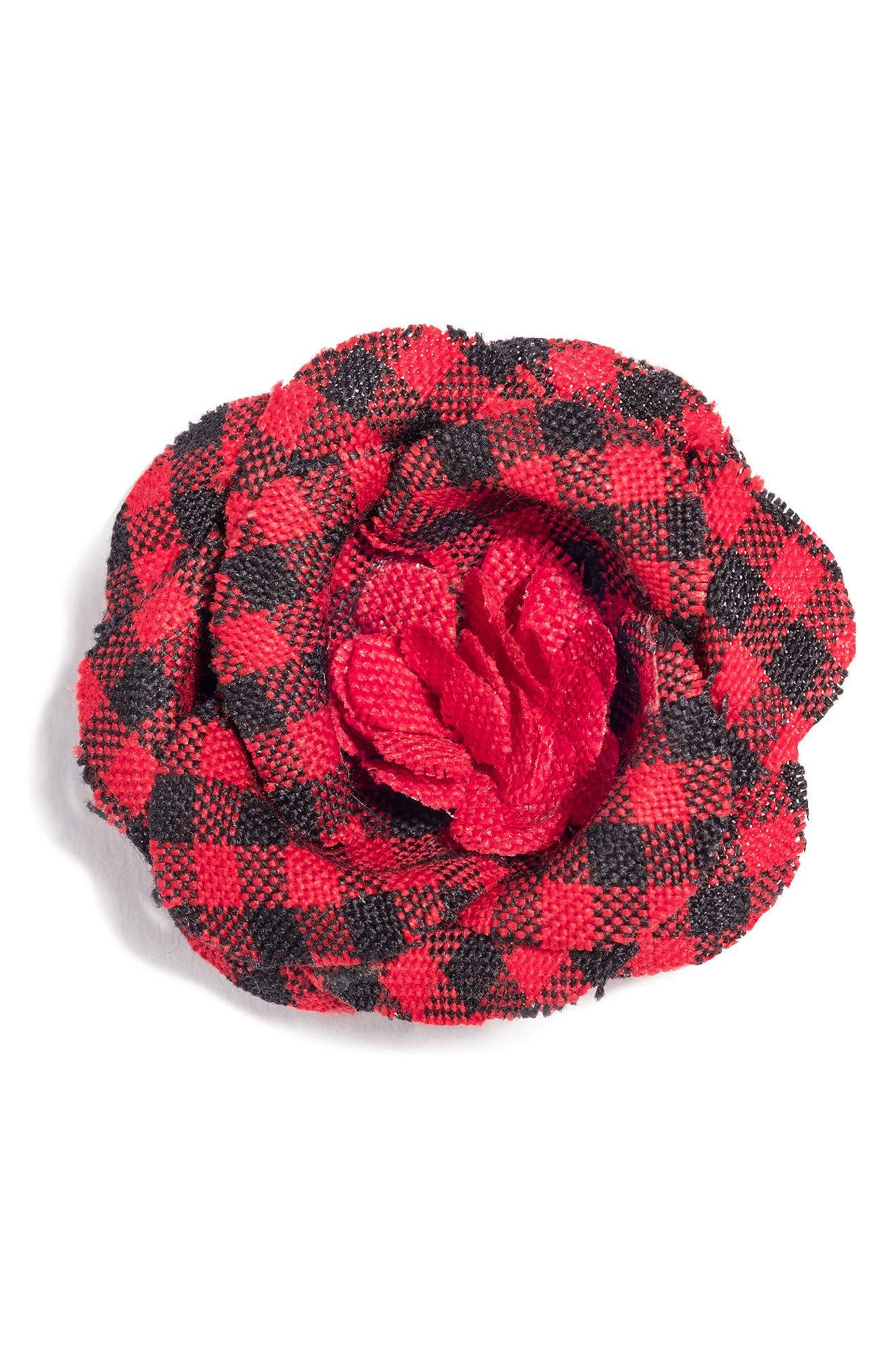 Poplin Check Lapel Flower,                             Main thumbnail 3, color,