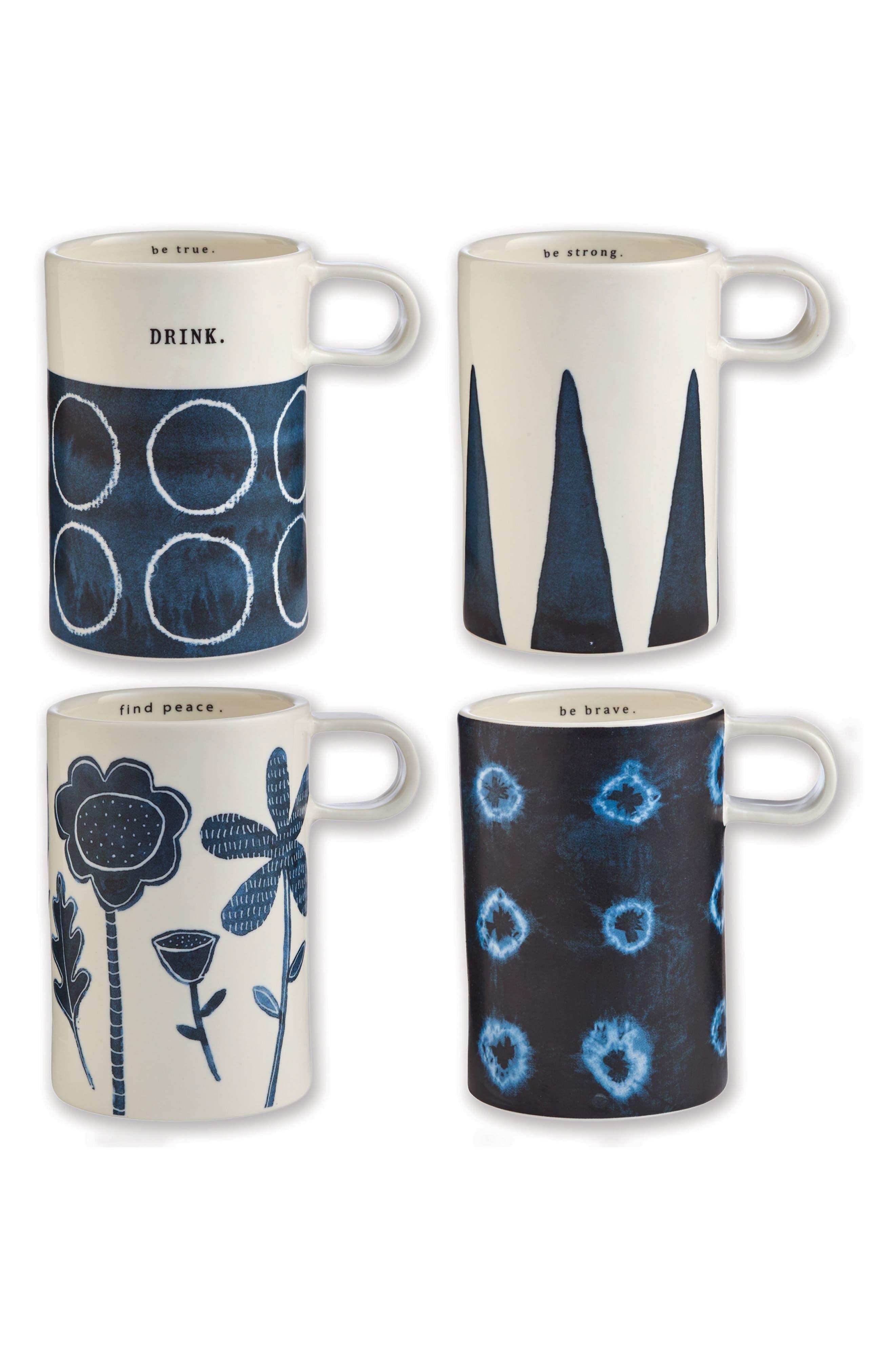 Set of 4 Ceramic Mugs,                             Main thumbnail 1, color,