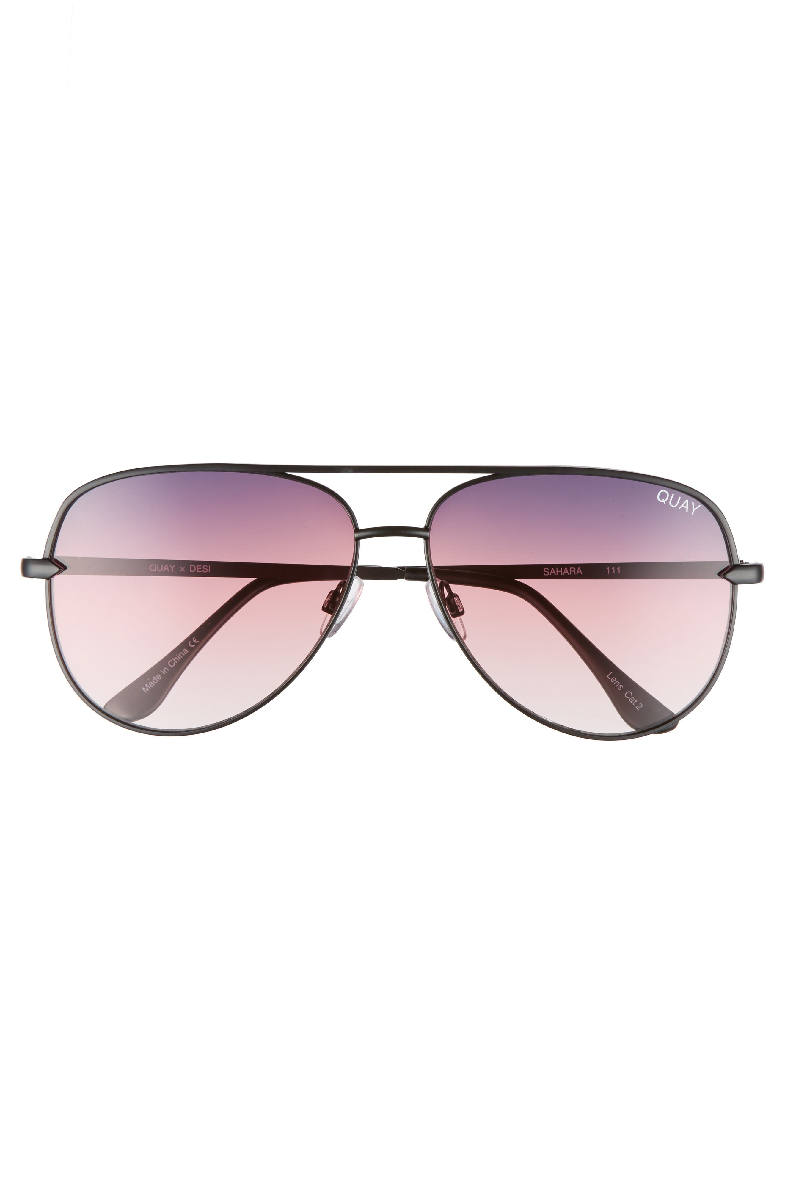 x Desi Perkins Sahara 60mm Aviator Sunglasses,                             Alternate thumbnail 3, color,                             BLACK/ PURPLE/ FADE