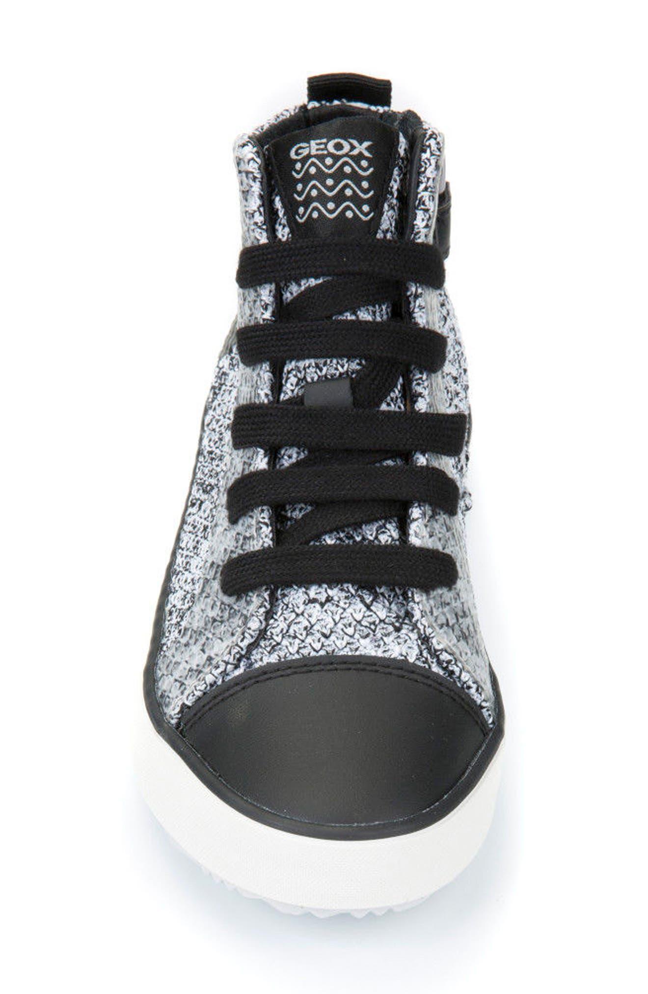 Alonisso Knit Mid Top Sneaker,                             Alternate thumbnail 4, color,                             WHITE/ BLACK