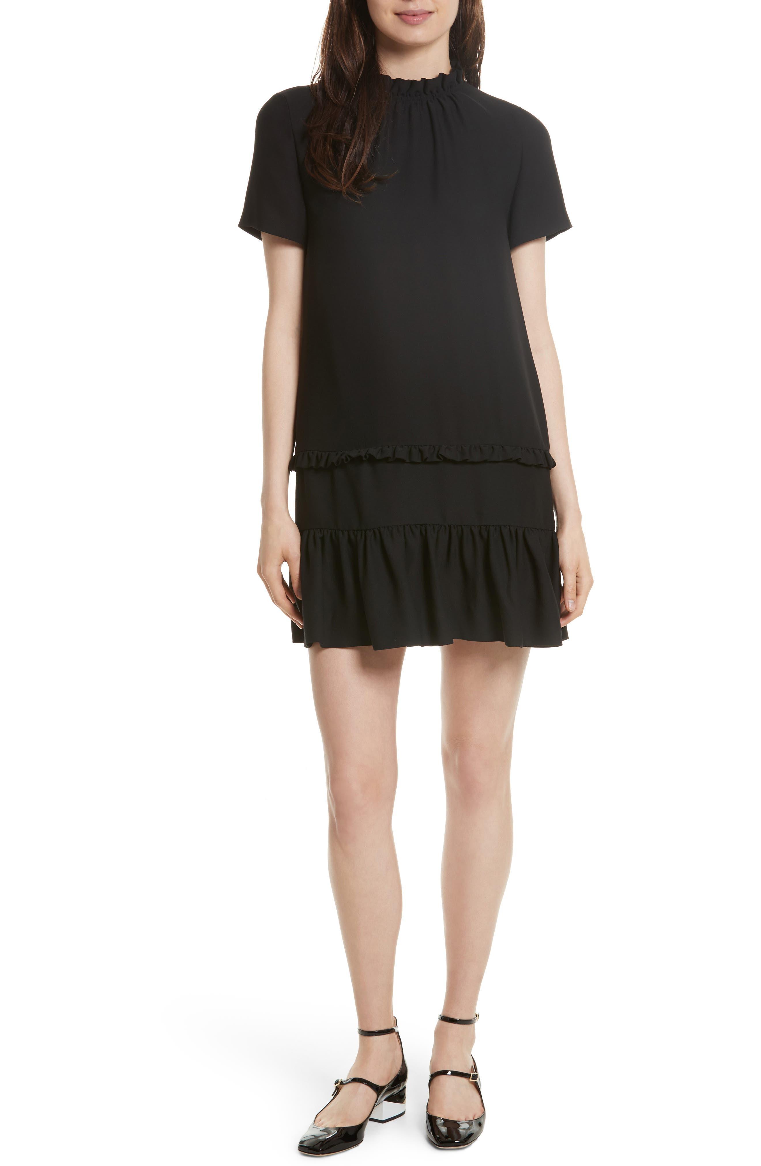 ruffle shift dress,                             Main thumbnail 1, color,                             001