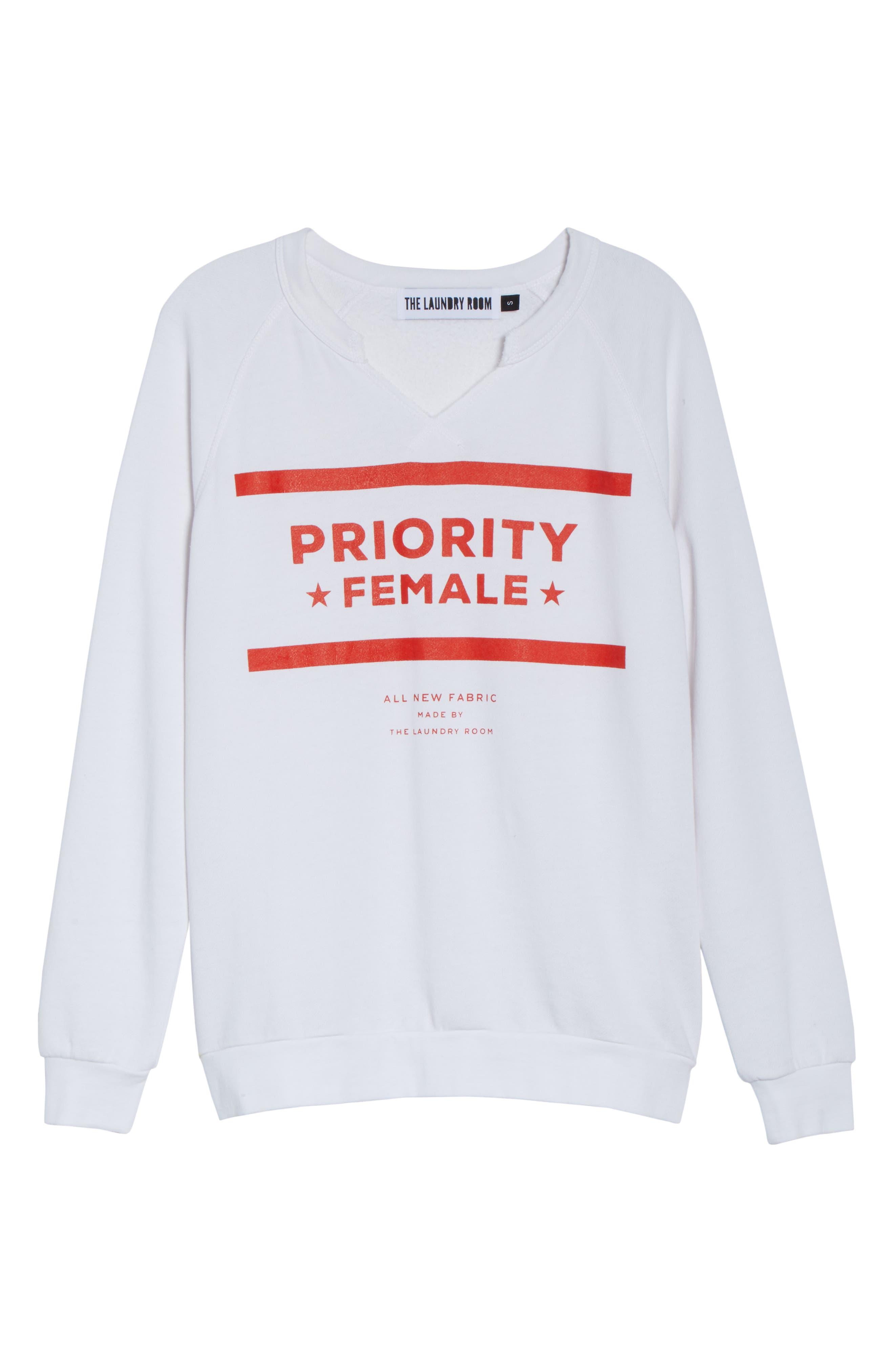 Priority Female Sweatshirt,                             Alternate thumbnail 6, color,                             WHITE