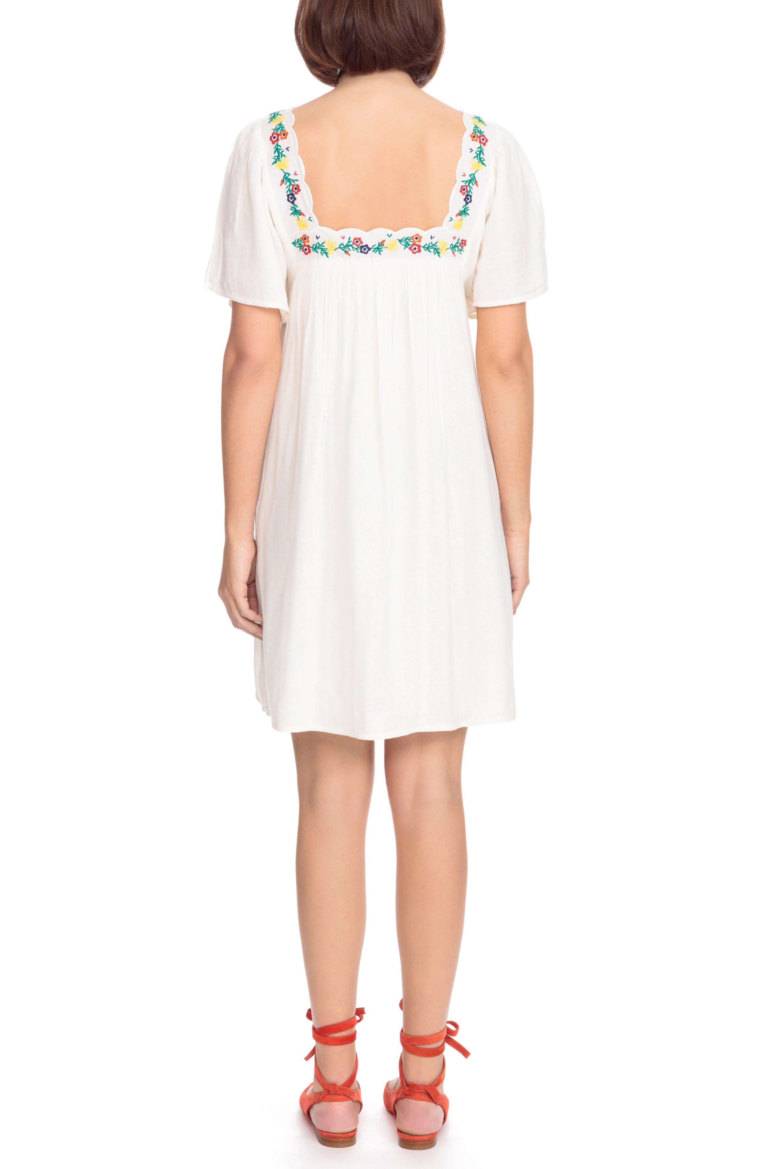 Caitlin Embroidered Shift Dress,                             Alternate thumbnail 2, color,