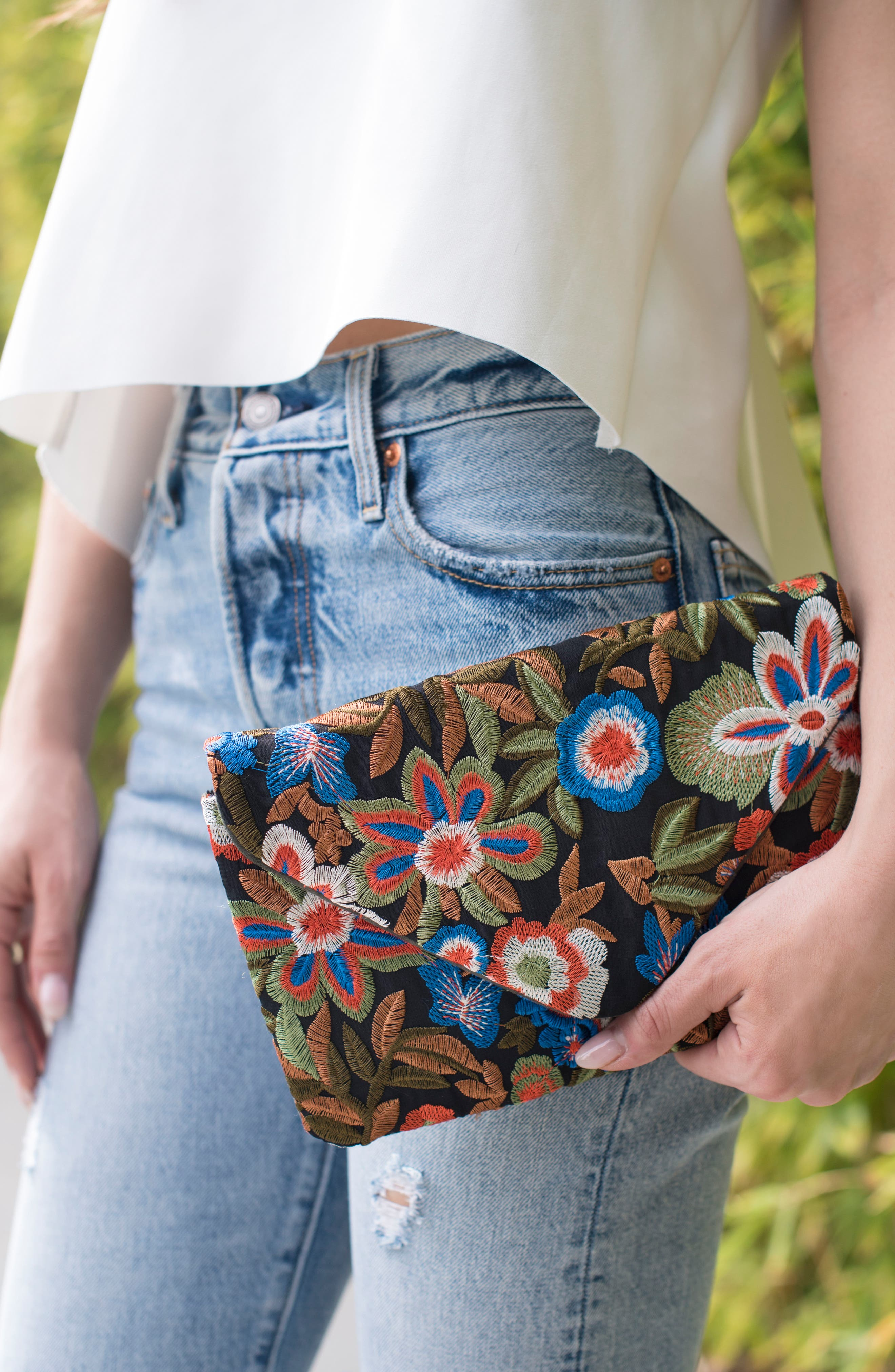 Embroidered Envelope Clutch,                             Alternate thumbnail 7, color,                             461