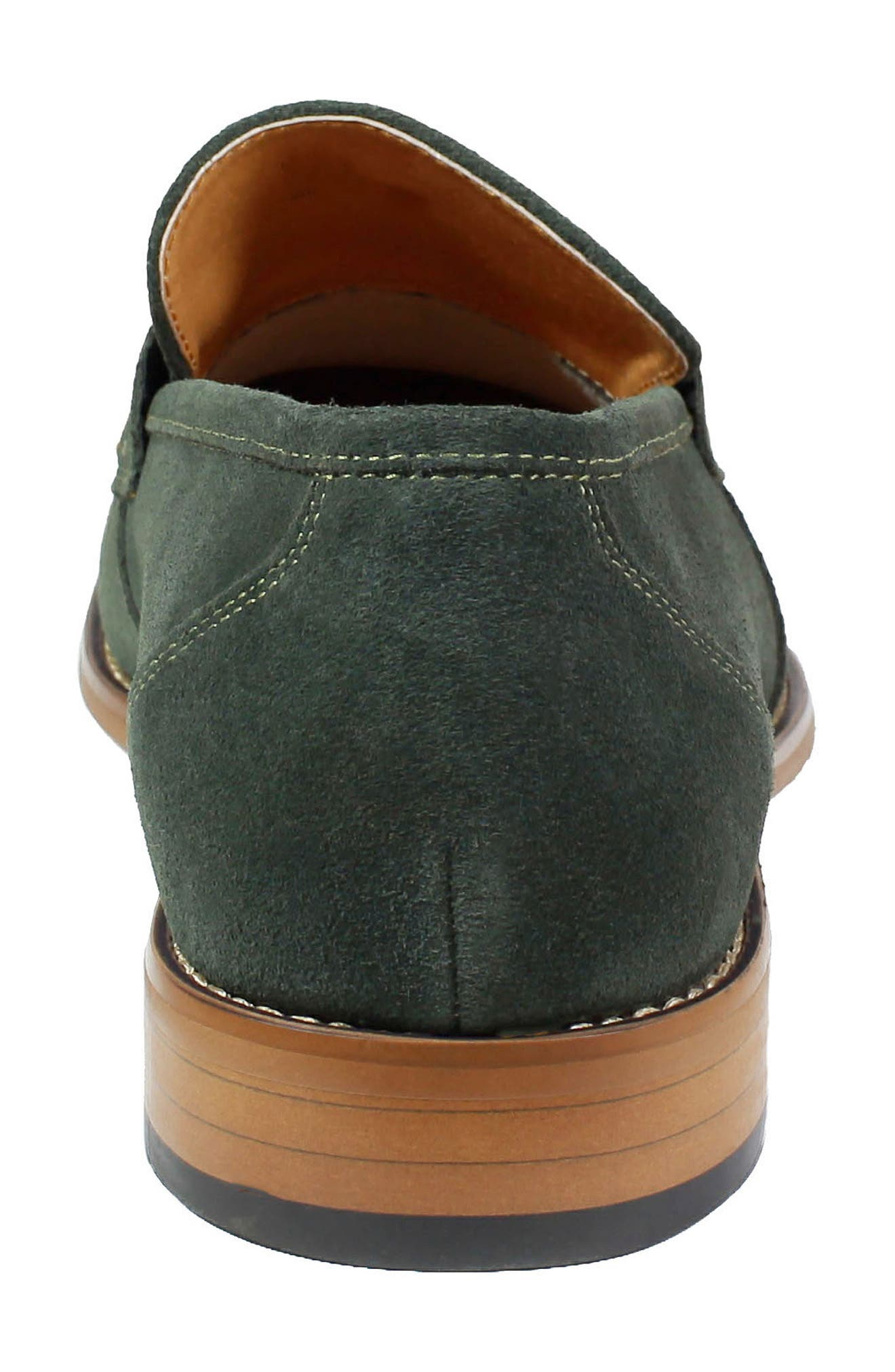 Colfax Apron Toe Penny Loafer,                             Alternate thumbnail 8, color,                             DARK GREEN SUEDE