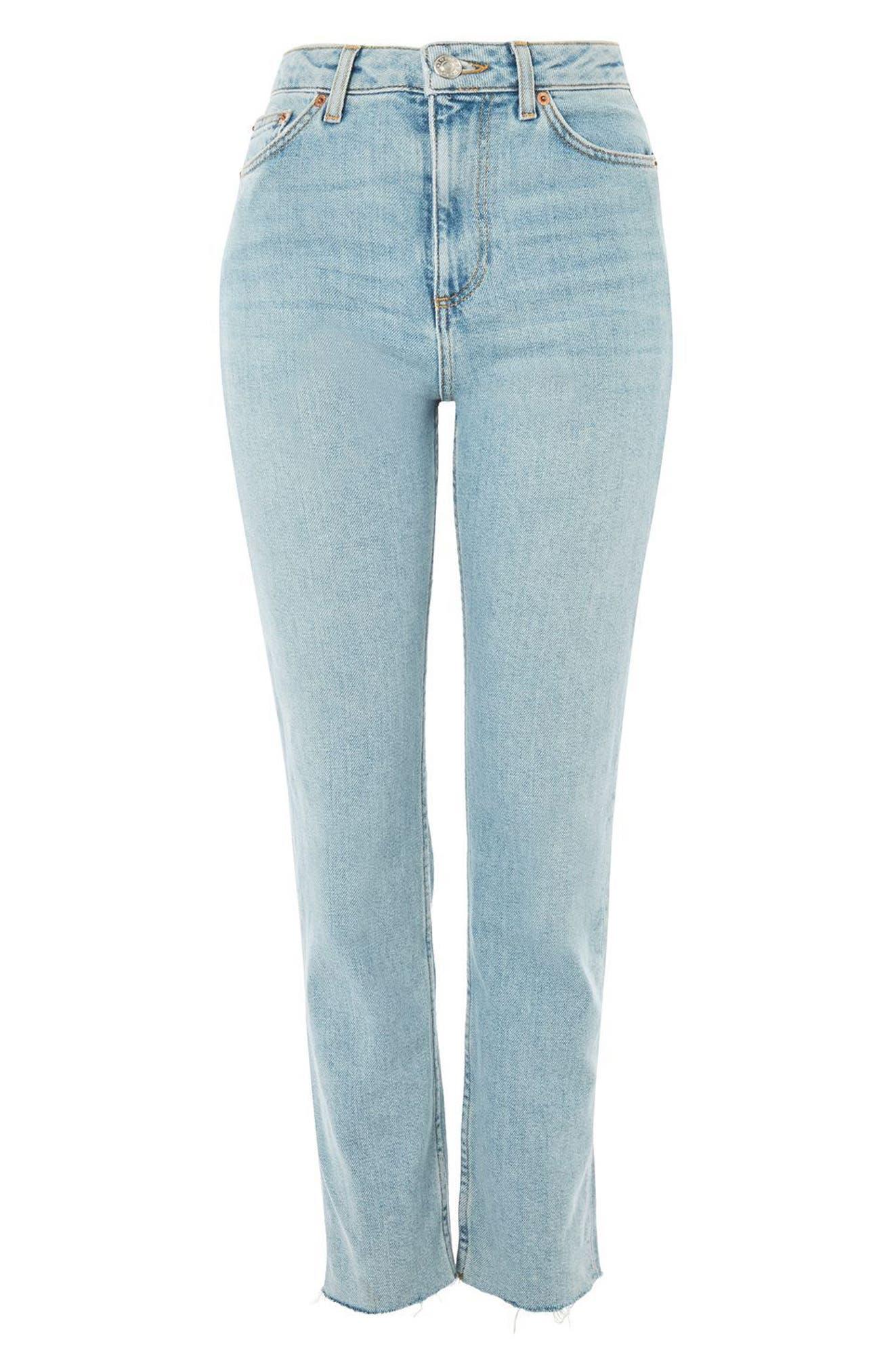Vintage Bleach Raw Hem Straight Leg Jeans,                             Alternate thumbnail 3, color,                             420