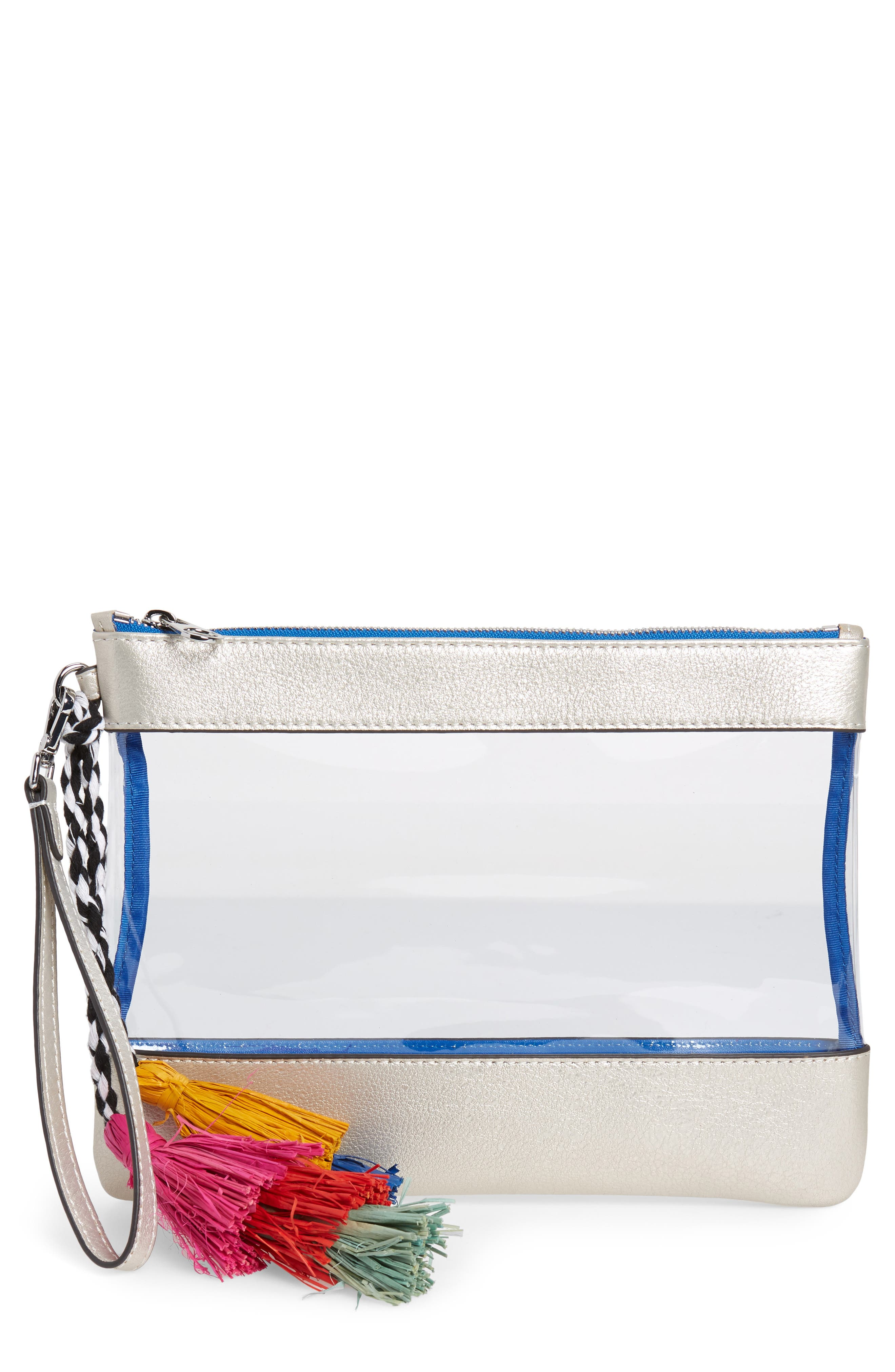 Thore Clear Tassel Wristlet Clutch,                         Main,                         color,