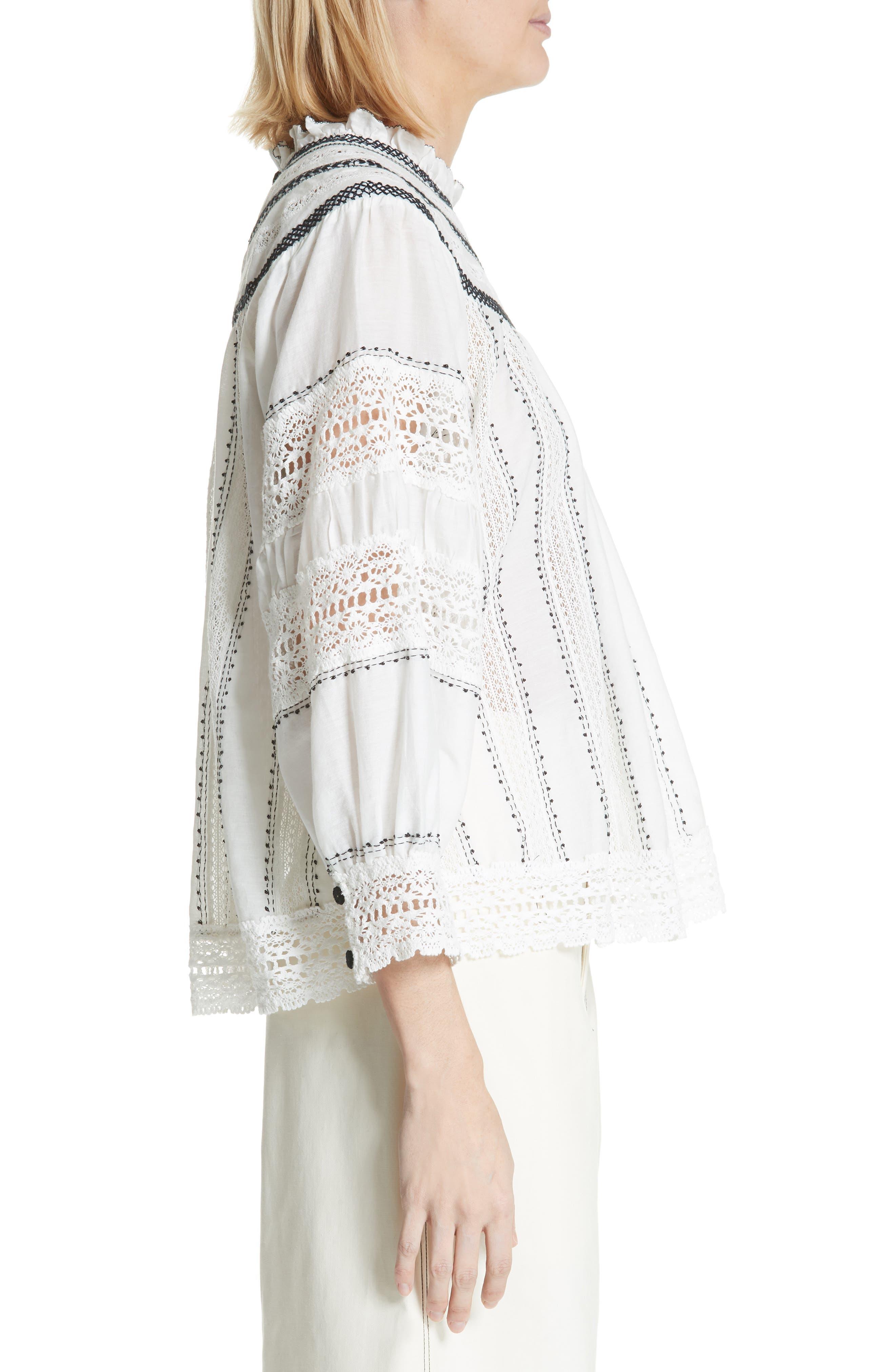 SEA,                             Louisa Crochet Peasant Top,                             Alternate thumbnail 3, color,                             902