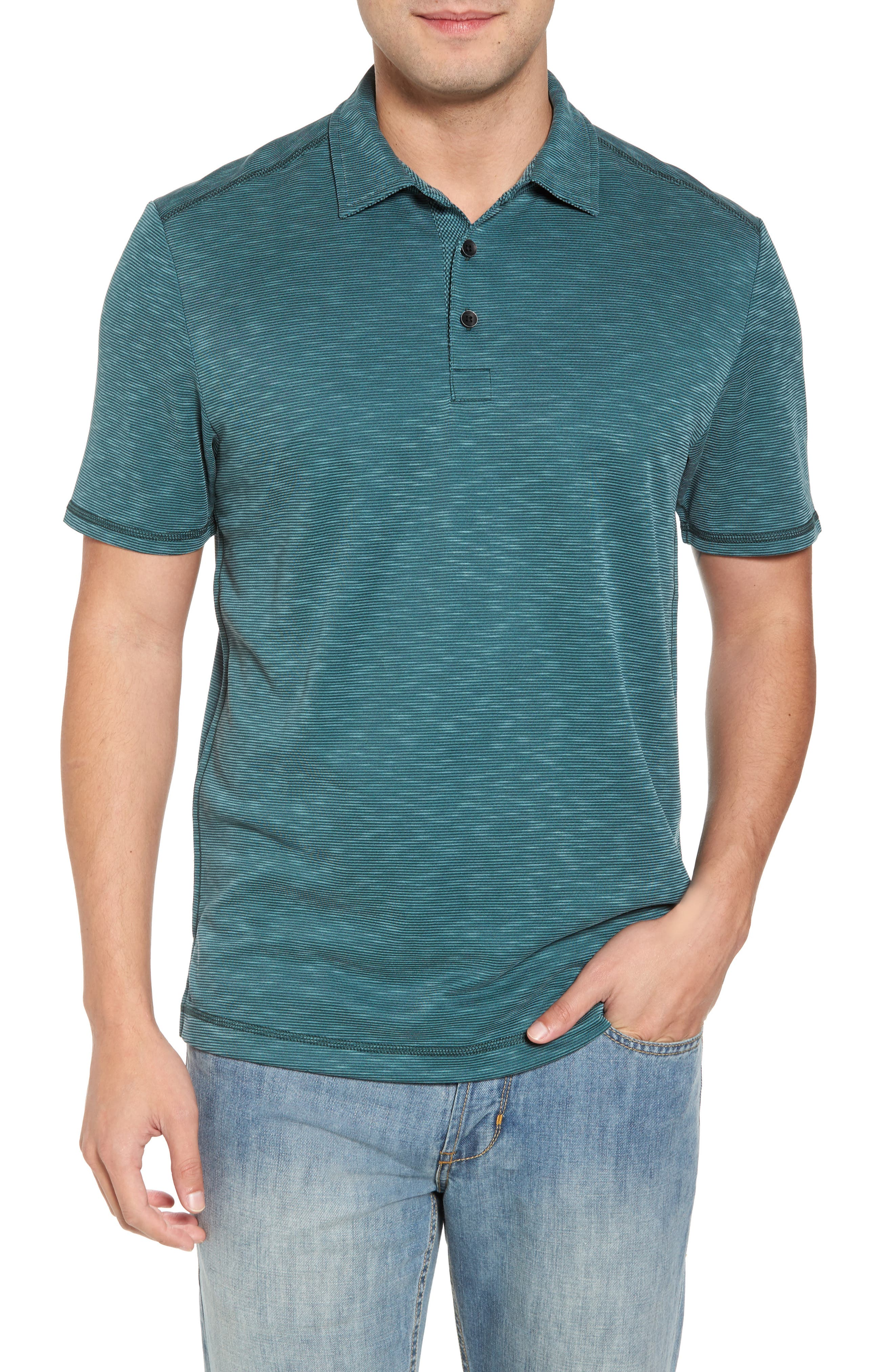 New Double Tempo Spectator Jersey Polo,                         Main,                         color, FOREST GREEN