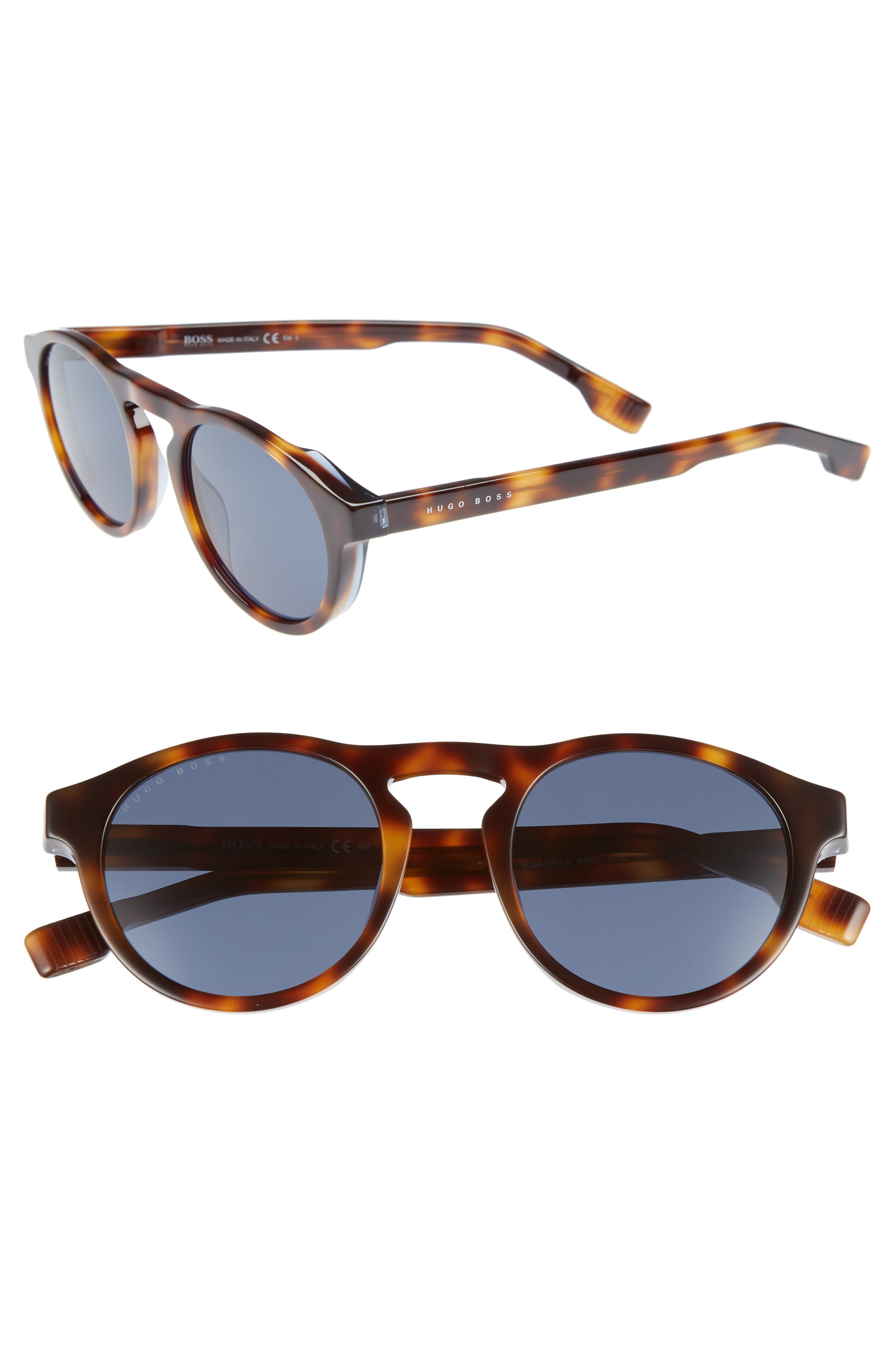 50mm Polarized Round Sunglasses,                         Main,                         color, HAVANA/ BLUE