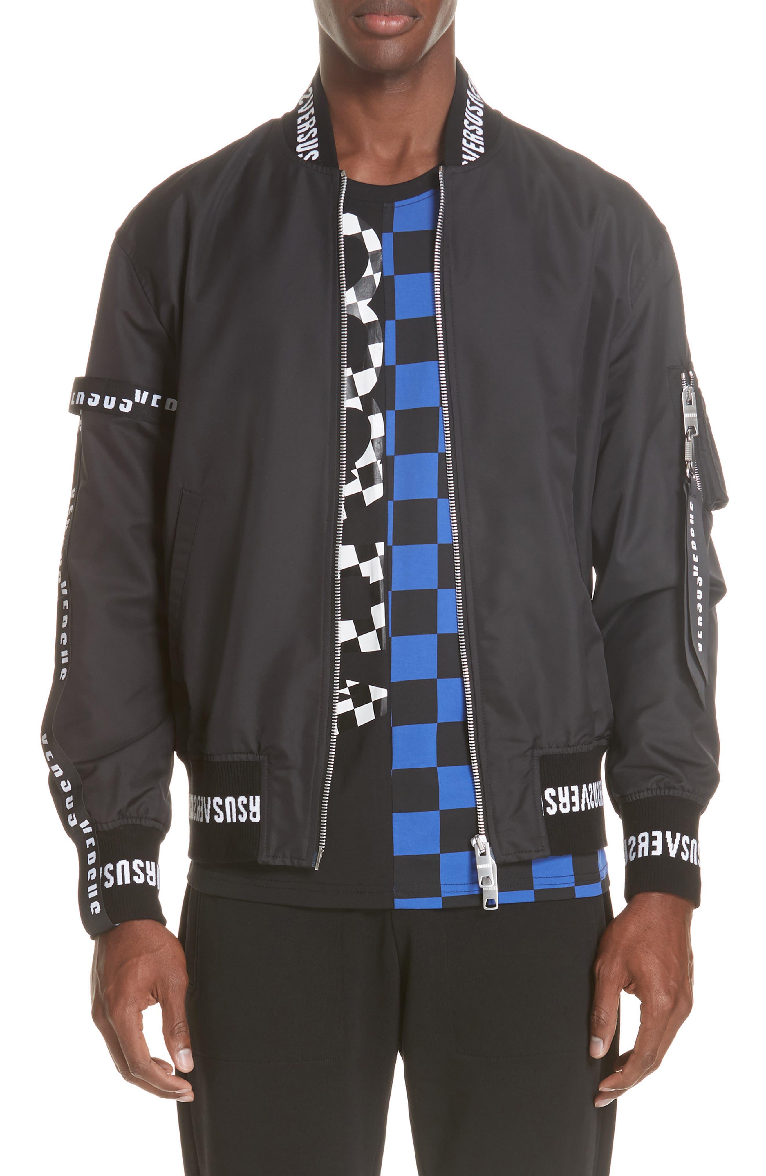 Strap Bomber Jacket,                         Main,                         color, B1008 BLACK