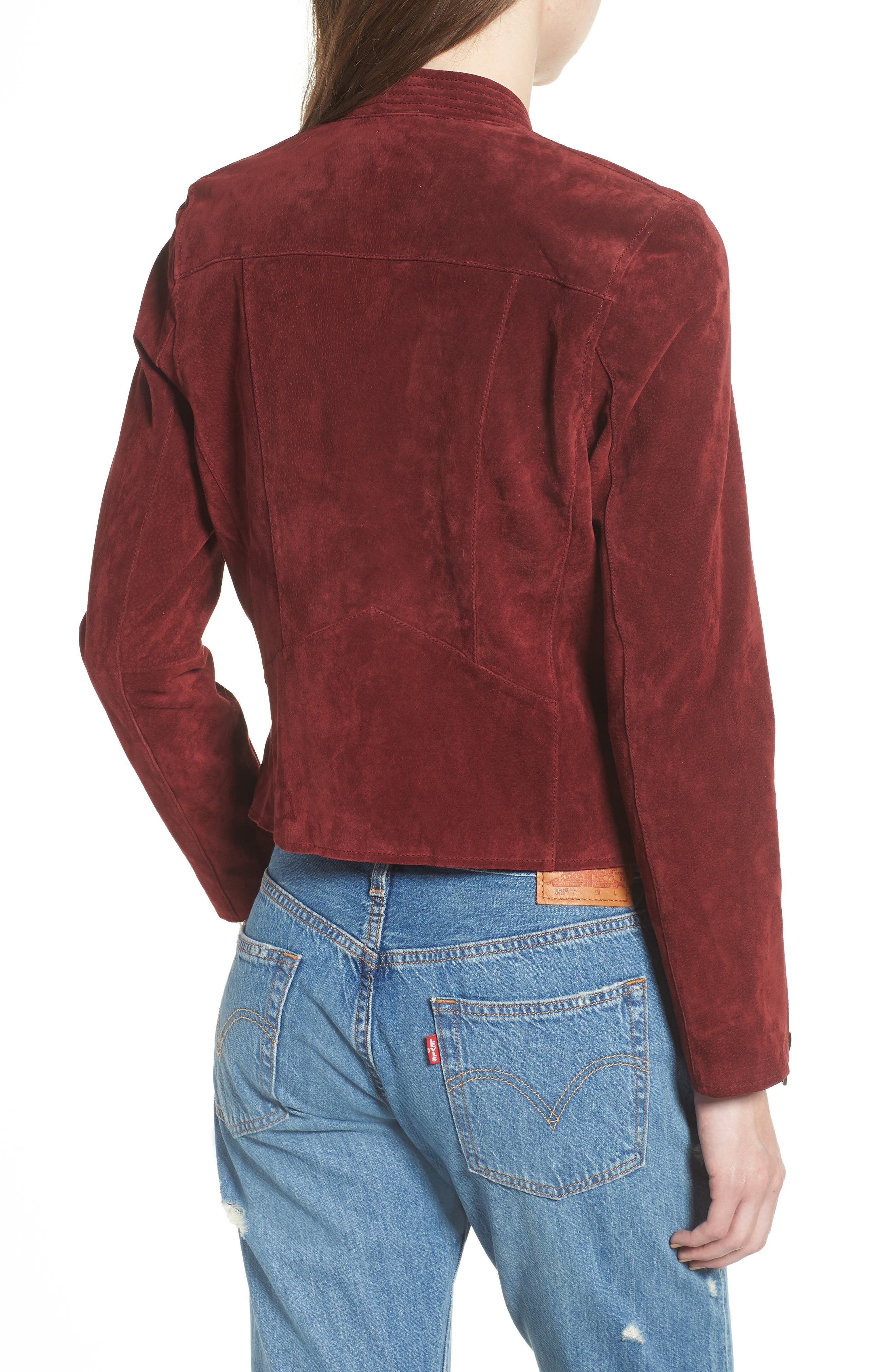 BLANKNYC,                             No Limit Suede Moto Jacket,                             Alternate thumbnail 2, color,                             RUBY