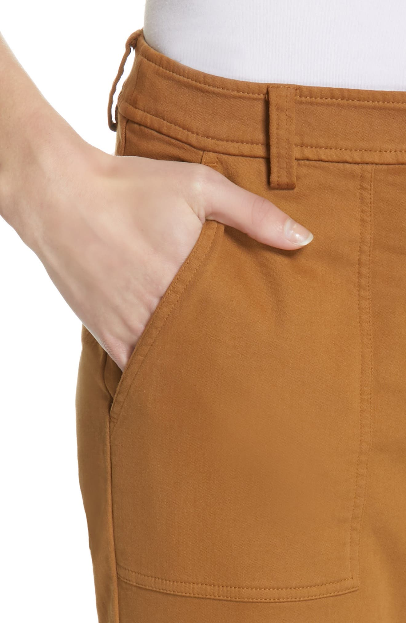 EILEEN FISHER,                             Slim Stretch Cotton Pants,                             Alternate thumbnail 4, color,                             DARK CLAY
