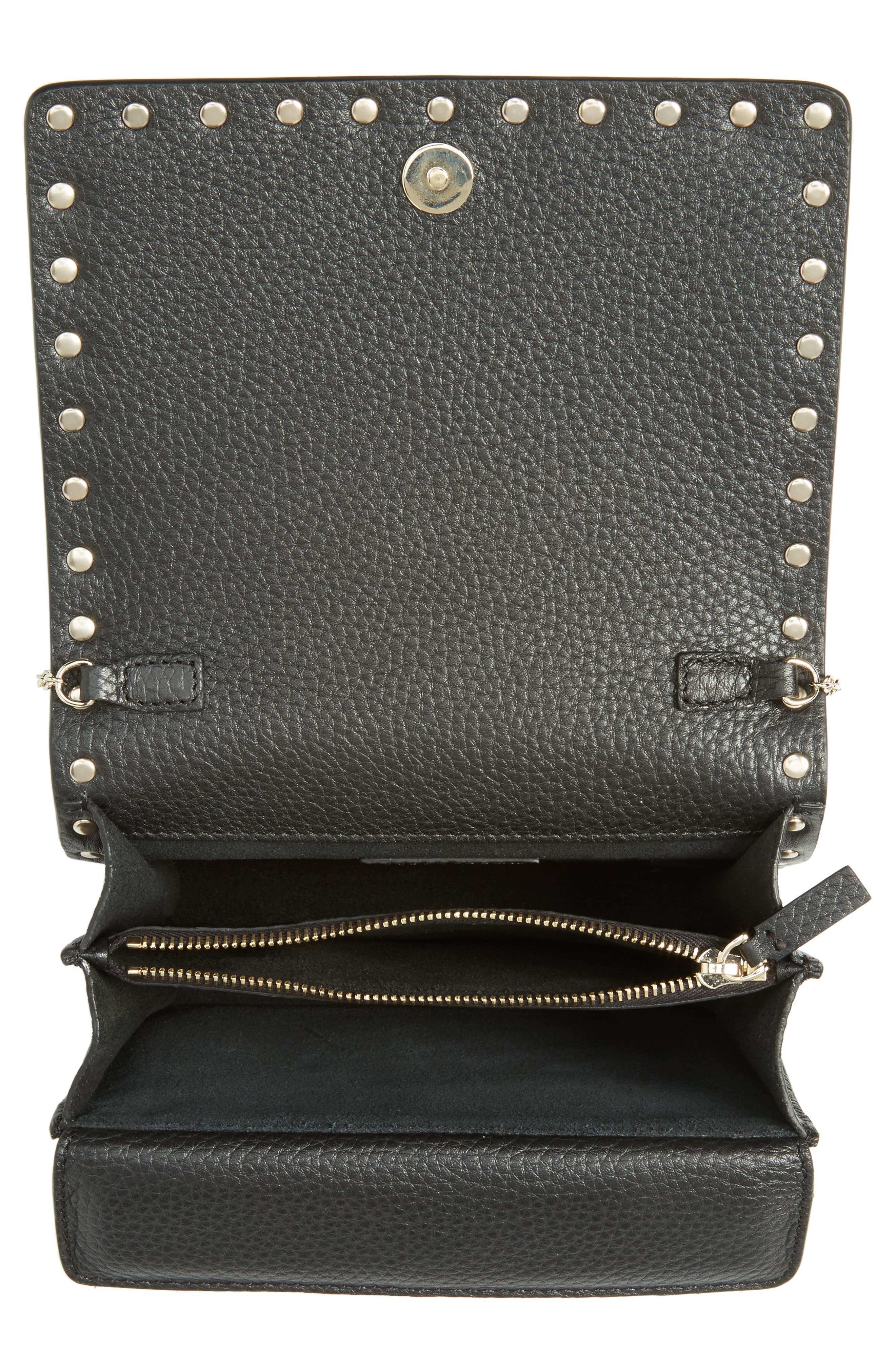 Rockstud Leather Wallet on a Chain,                             Alternate thumbnail 11, color,