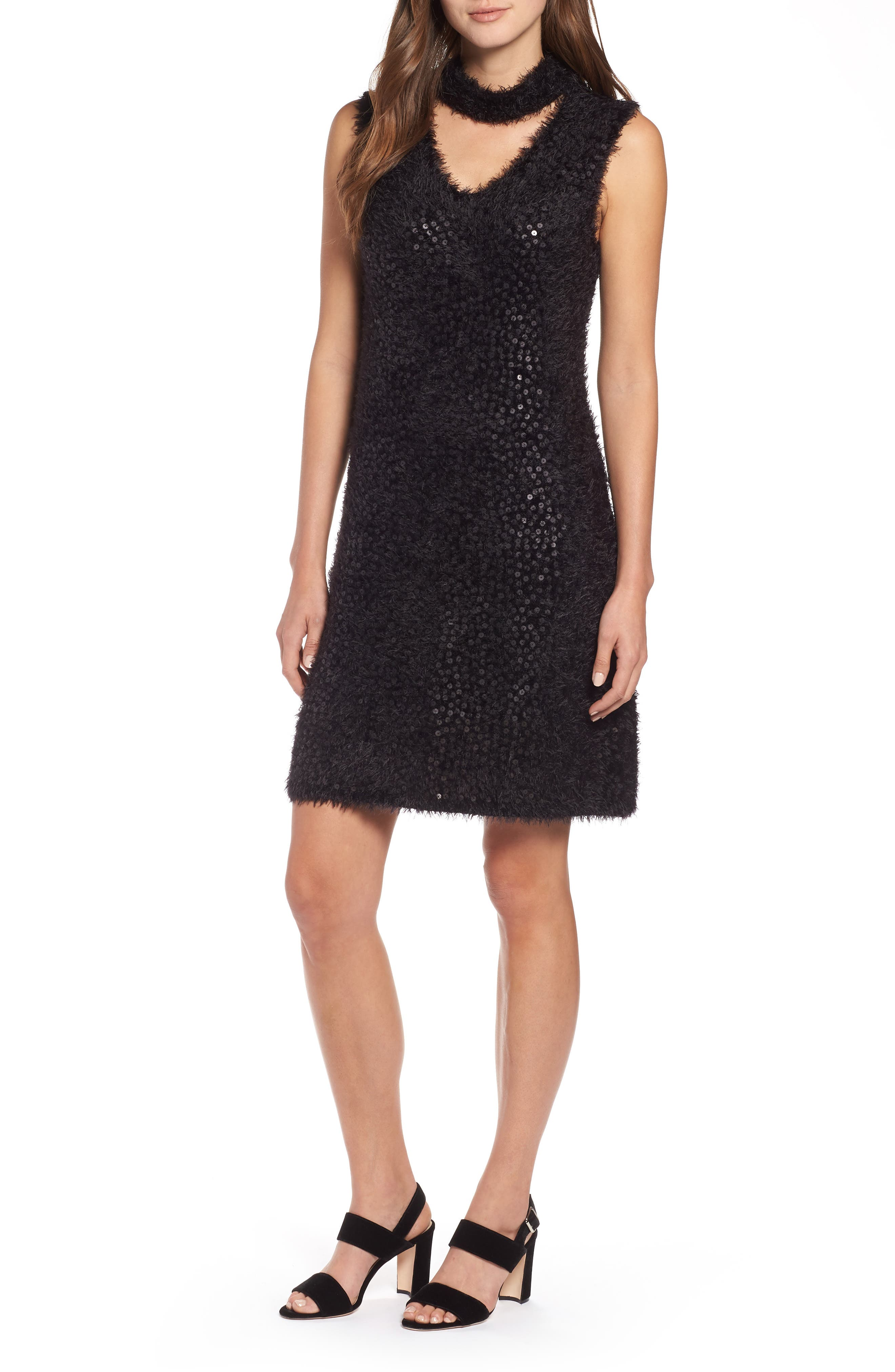 Cozy Sequin Dress,                             Main thumbnail 1, color,                             BLACK ONYX