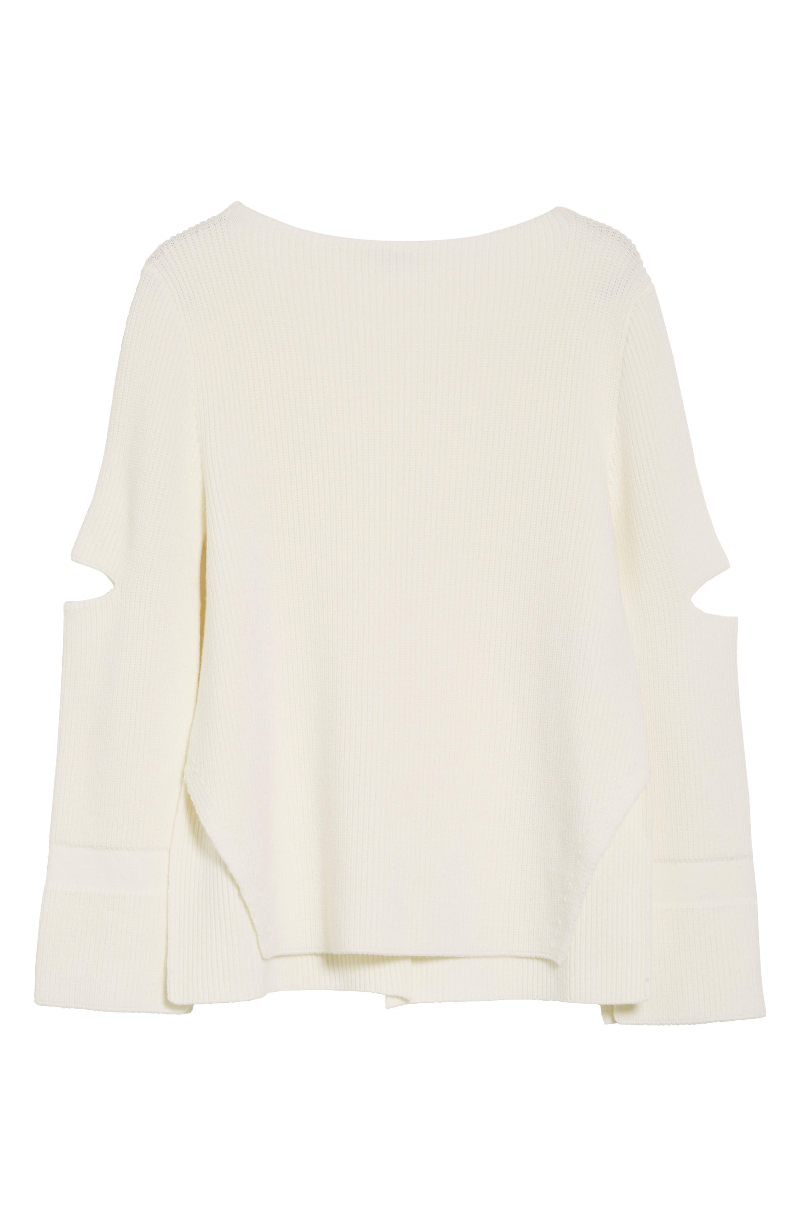 Slit Back Virgin Wool Blend Sweater,                             Alternate thumbnail 6, color,                             108