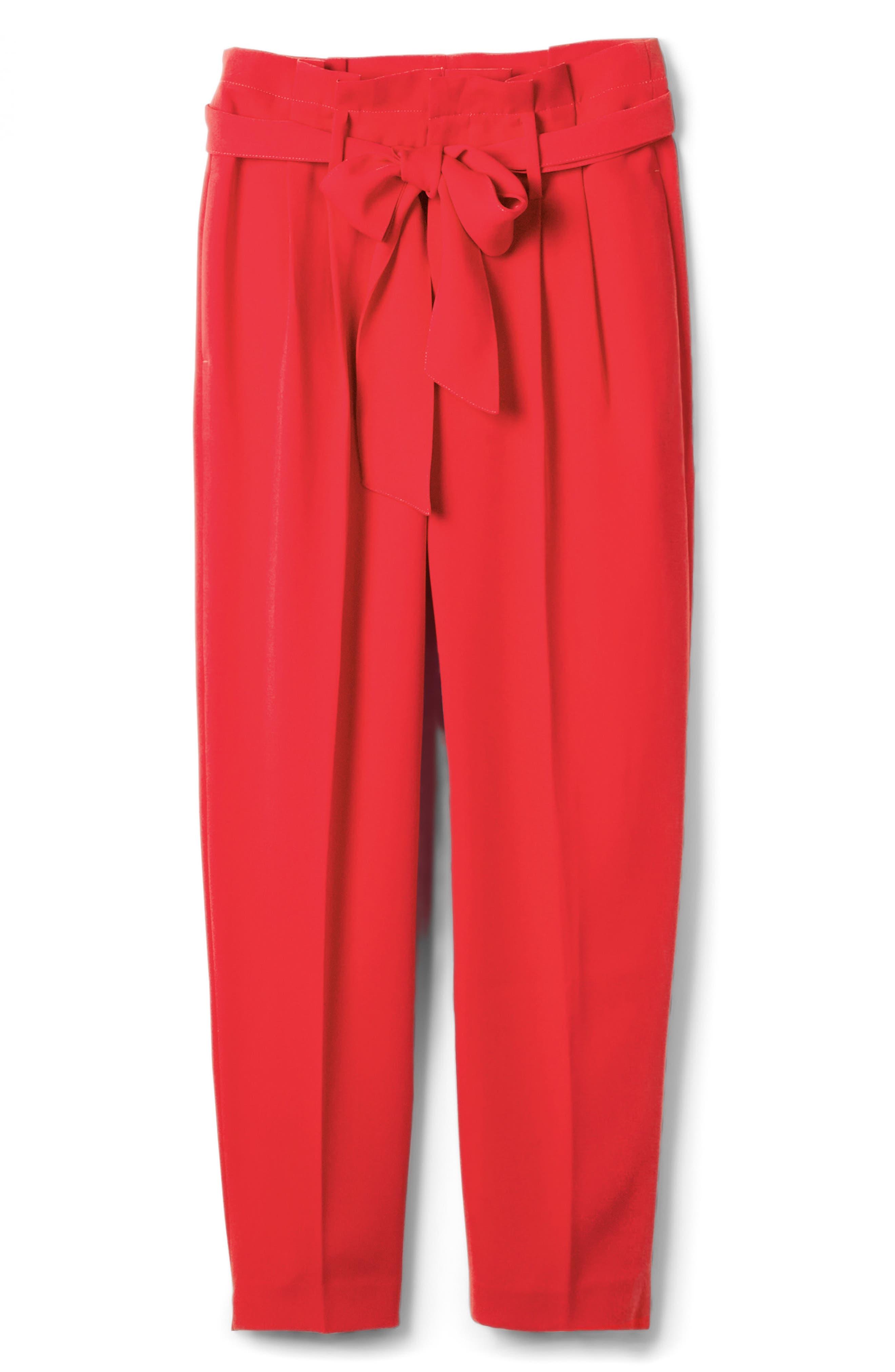 Paperbag Waist Crop Trousers,                             Alternate thumbnail 6, color,