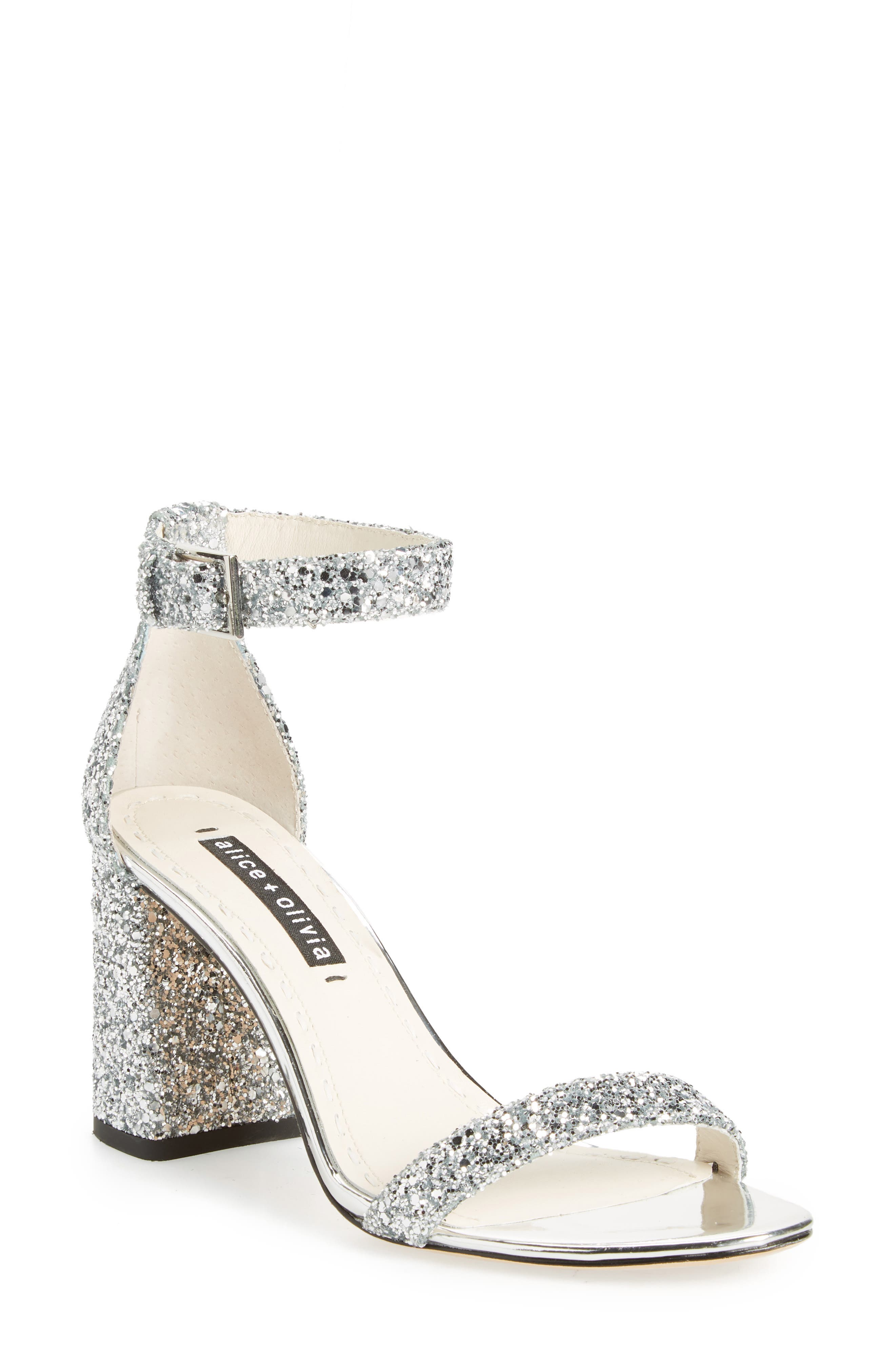 Lillian Glitter Ankle Strap Sandal,                             Main thumbnail 1, color,                             020