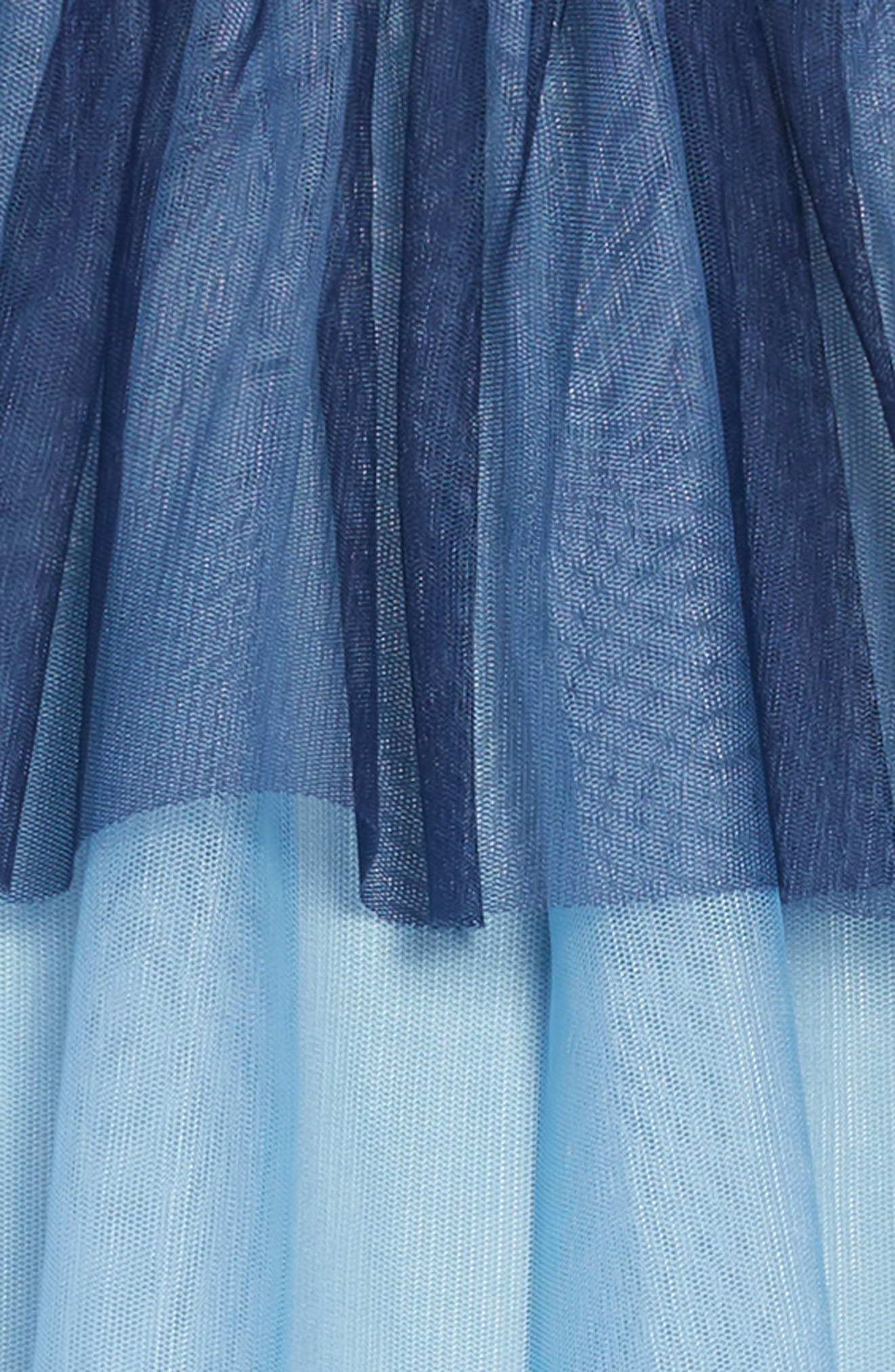 Jersey & Tulle Dress,                             Alternate thumbnail 3, color,                             SCHOOL NAVY OMBRE