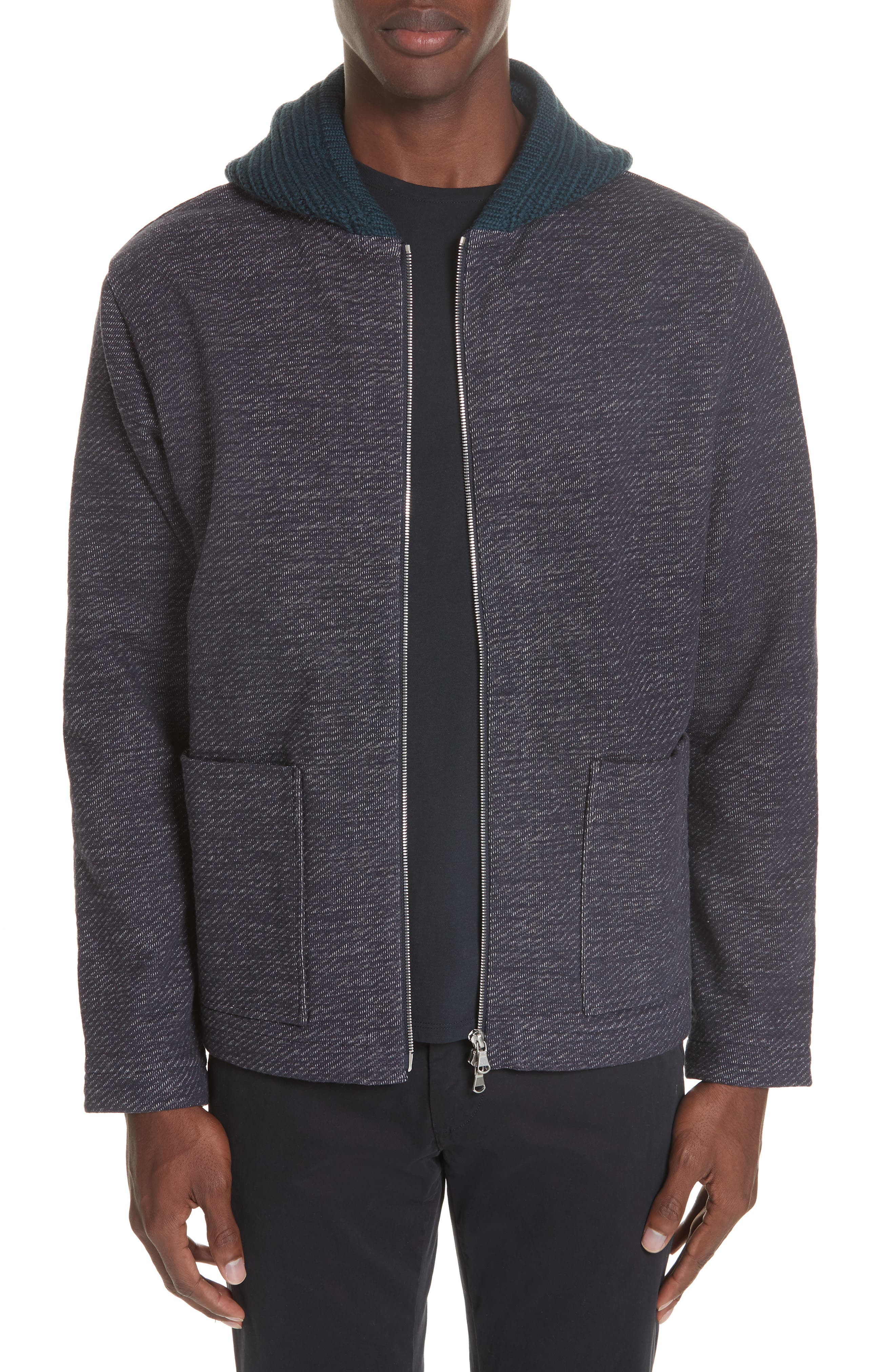 Hooded Cardigan,                         Main,                         color, NAVY