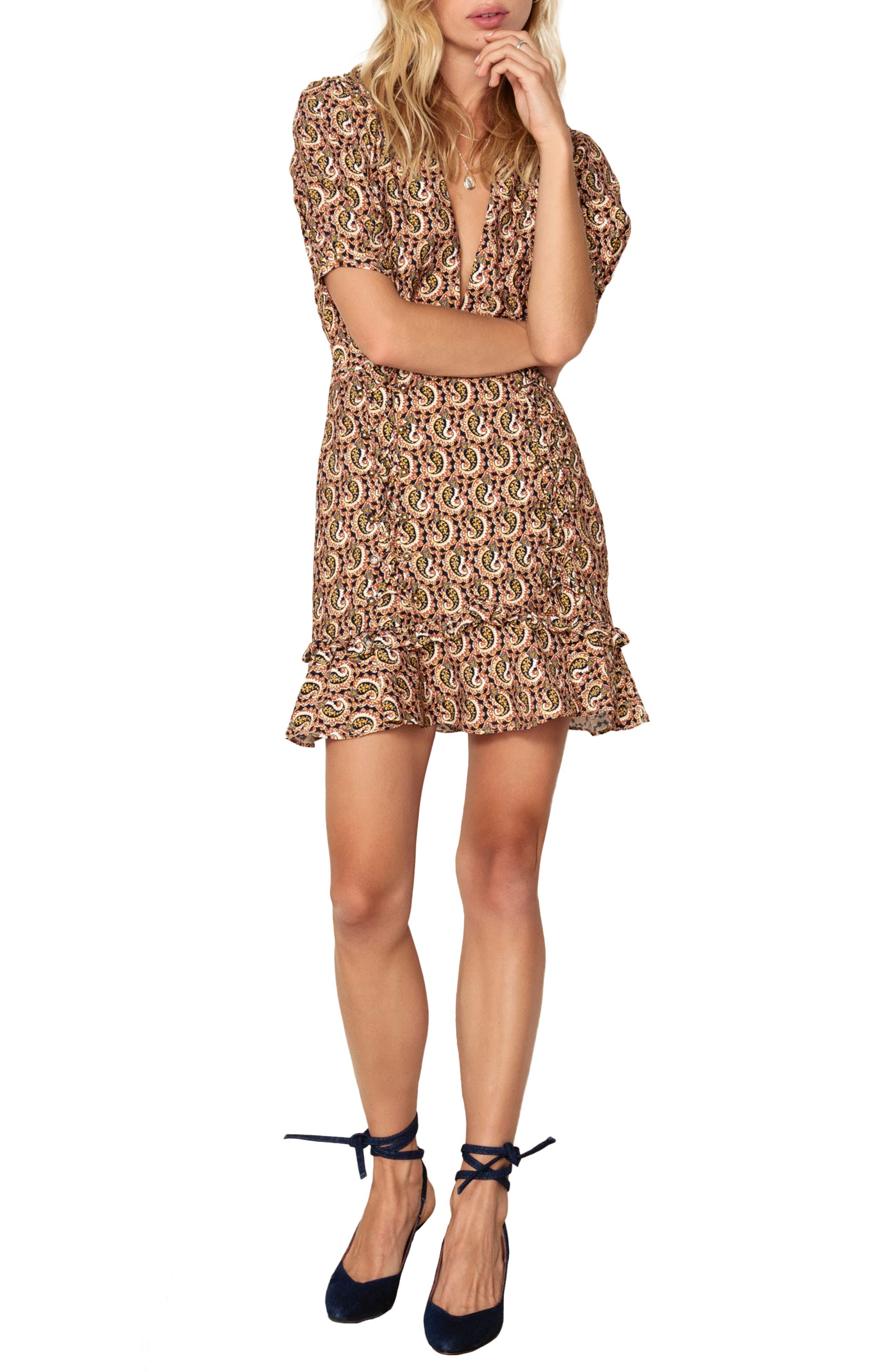 Alix Paisley Minidress,                         Main,                         color, OCHRE IDOL