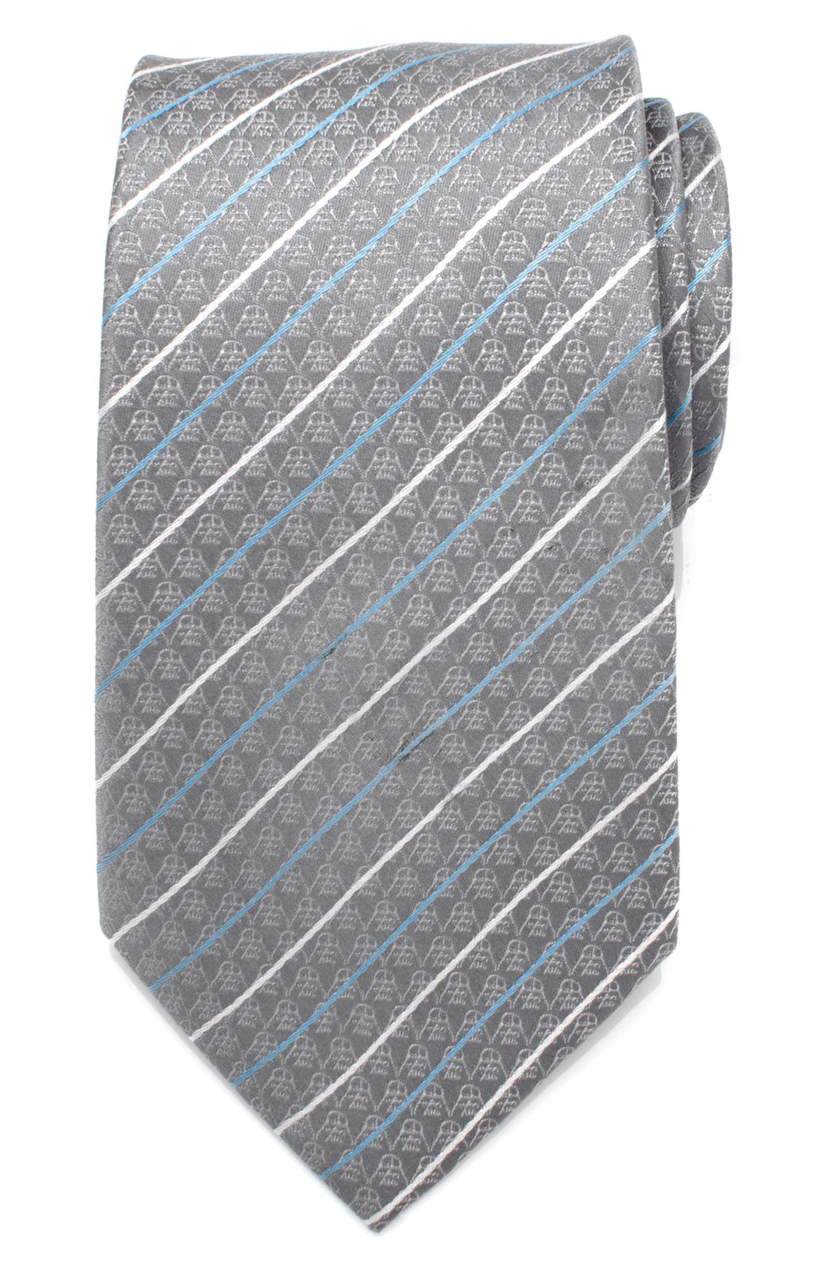 Darth Vader Stripe Silk Tie,                         Main,                         color, GREY