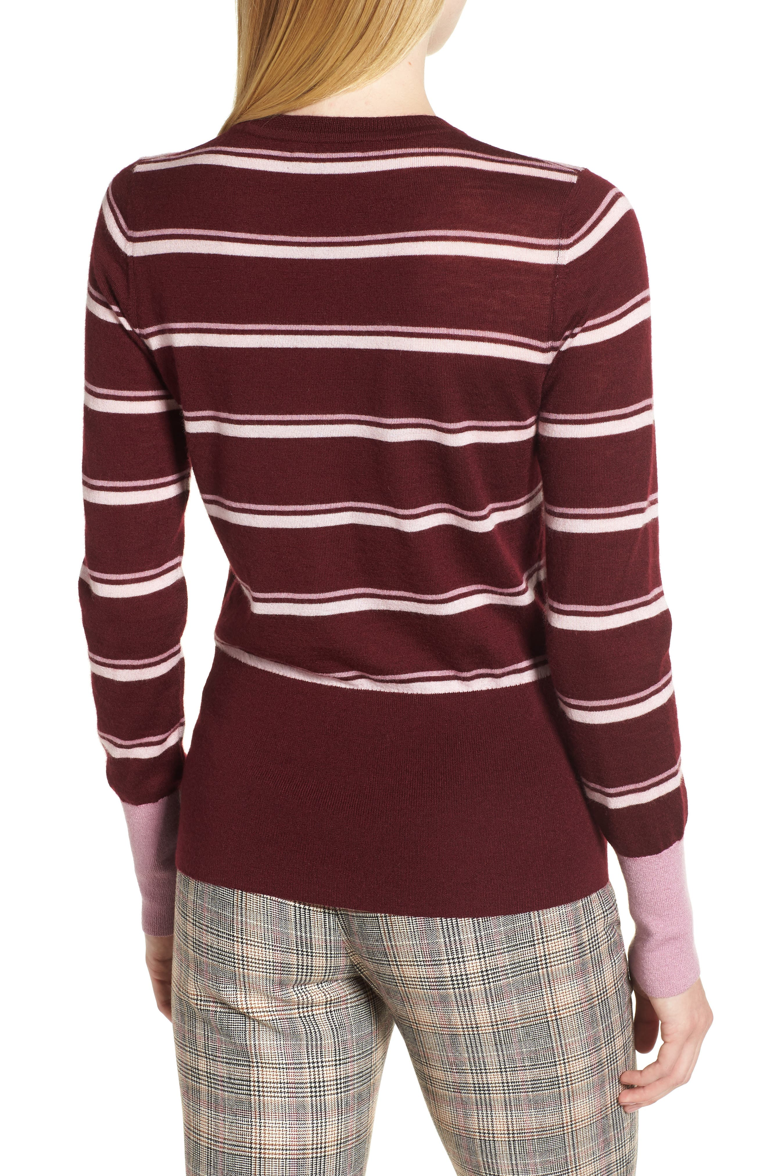 Stripe Cashmere Sweater,                             Alternate thumbnail 2, color,                             BURGUNDY STEP STRIPE