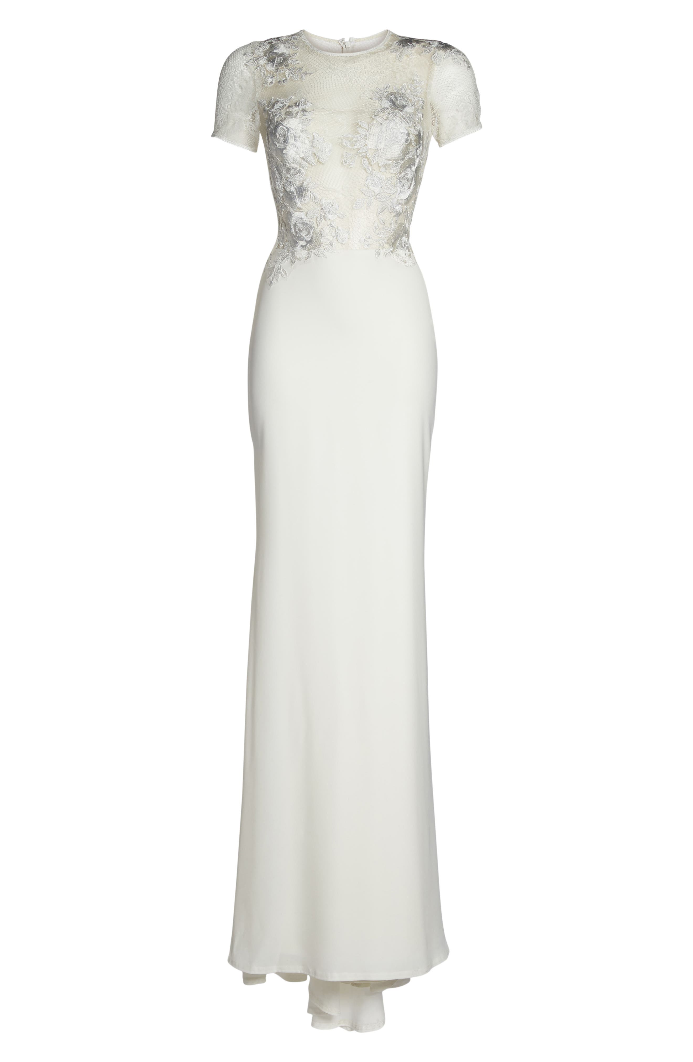 Floral Mesh Top Trumpet Gown,                             Alternate thumbnail 6, color,                             IVORY