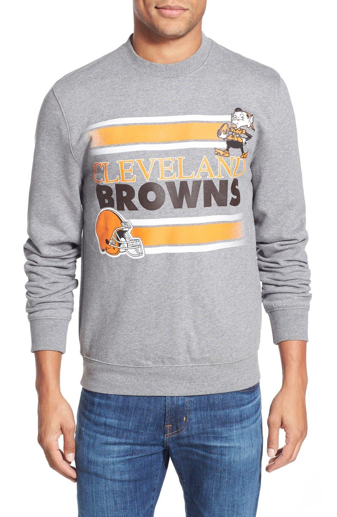 MITCHELL & NESS,                             Mitchell &Ness'Cleveland Browns' Tailored Fleece Crewneck Sweatshirt,                             Main thumbnail 1, color,                             061