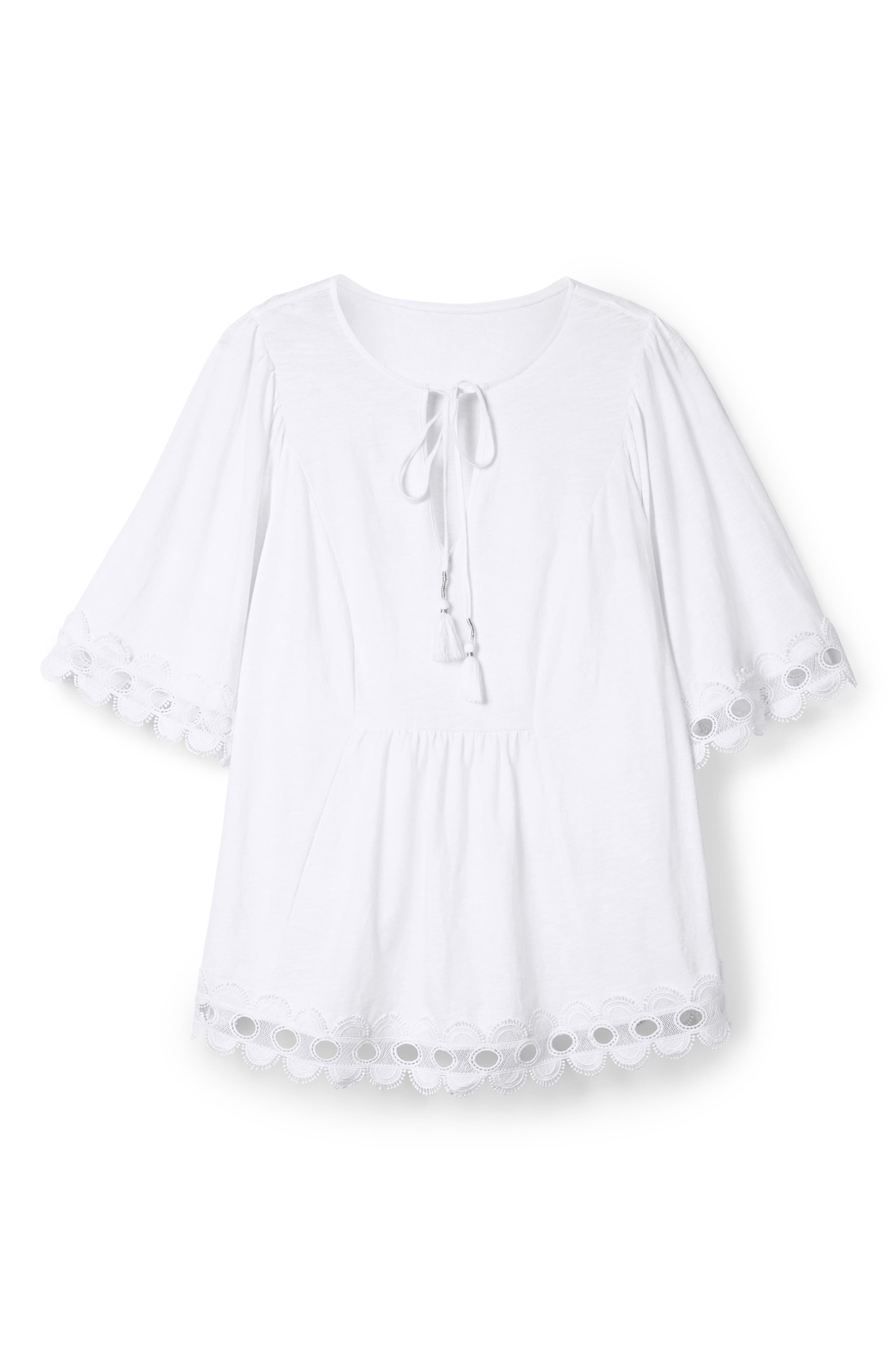 Lace Trim Caftan Top,                             Alternate thumbnail 3, color,                             WHITE