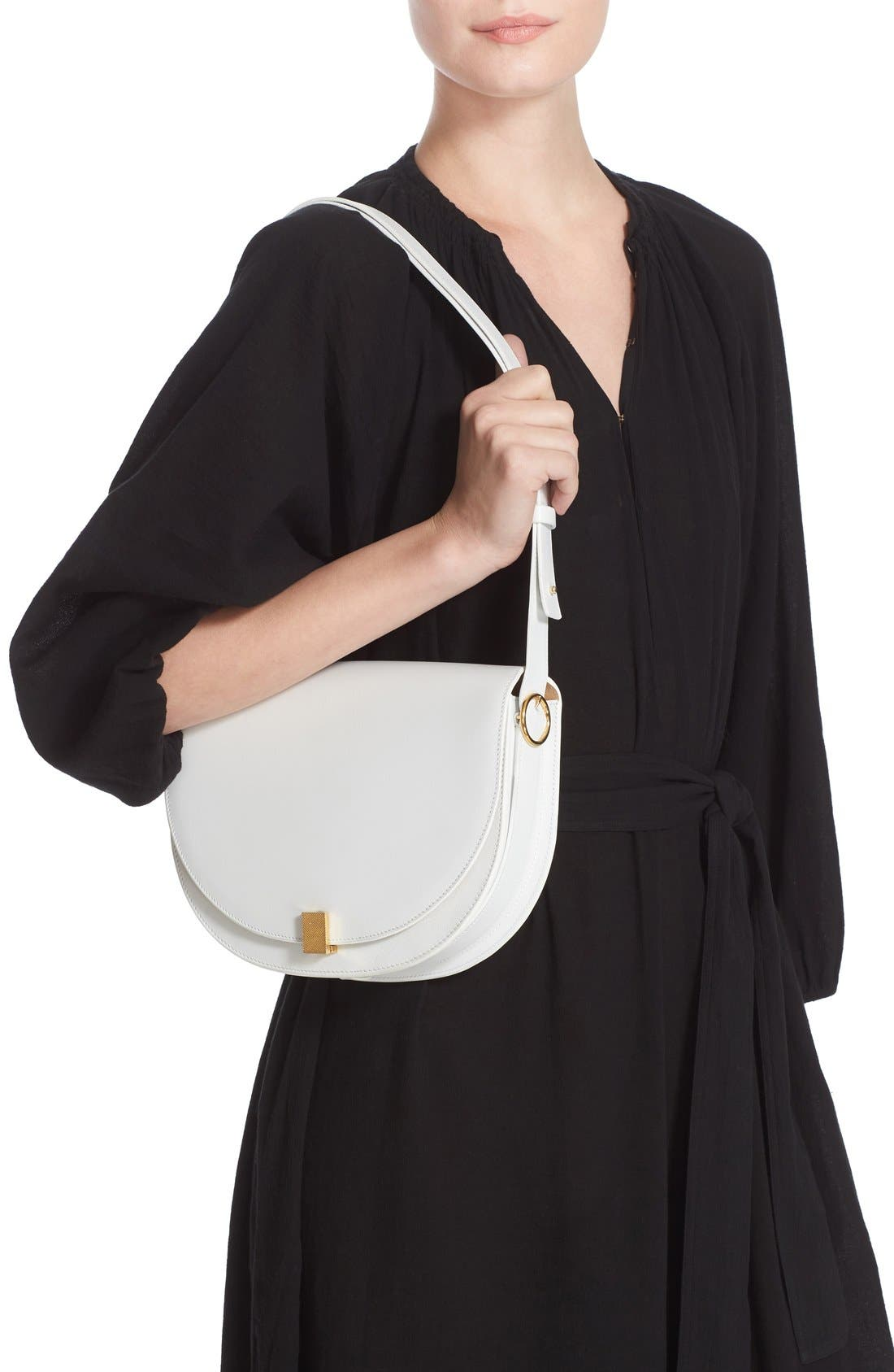Half Moon Box Shoulder Bag,                             Alternate thumbnail 5, color,                             WHITE
