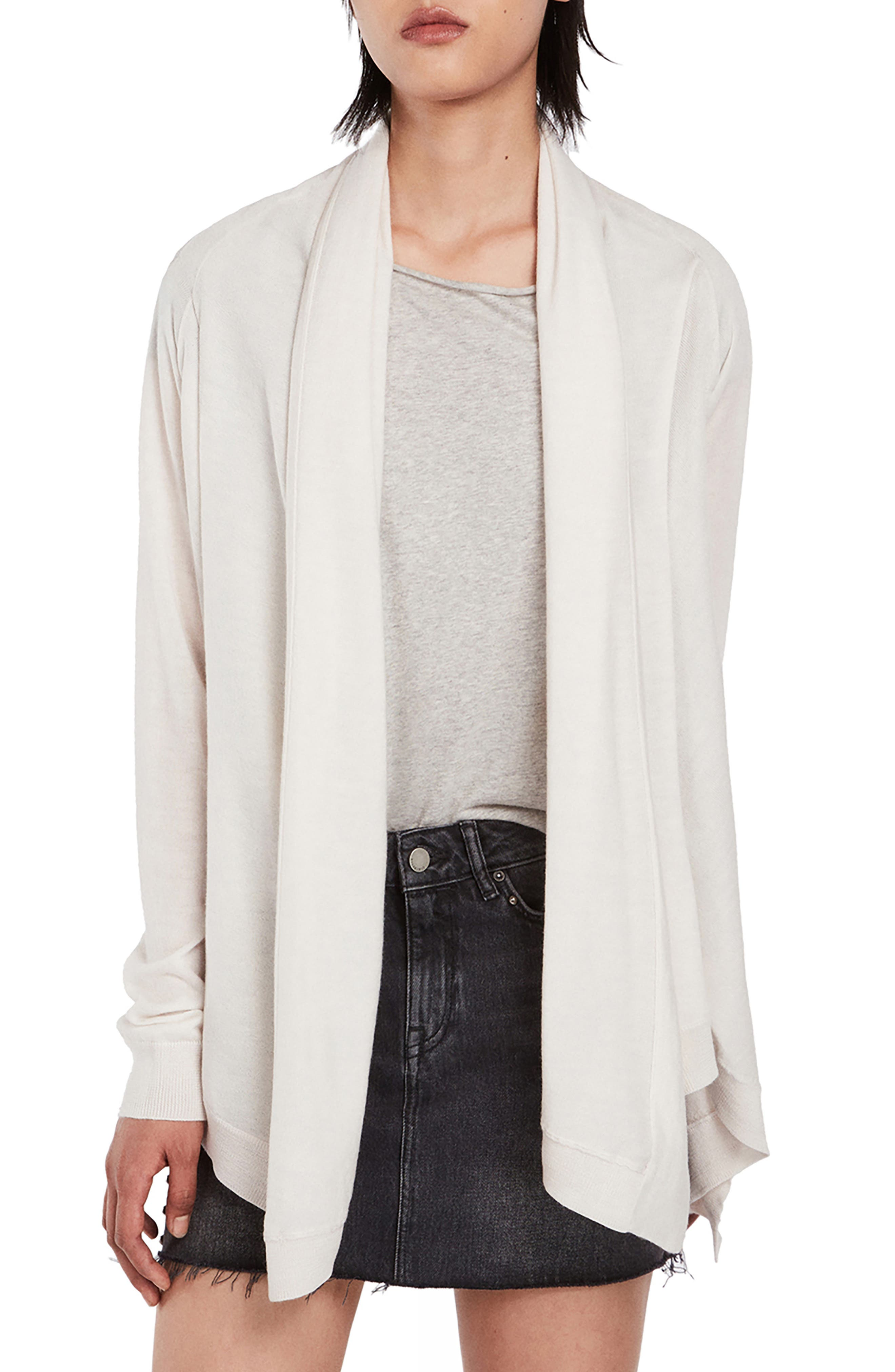 ALLSAINTS Ires Waterfall Cardigan in Chalk White