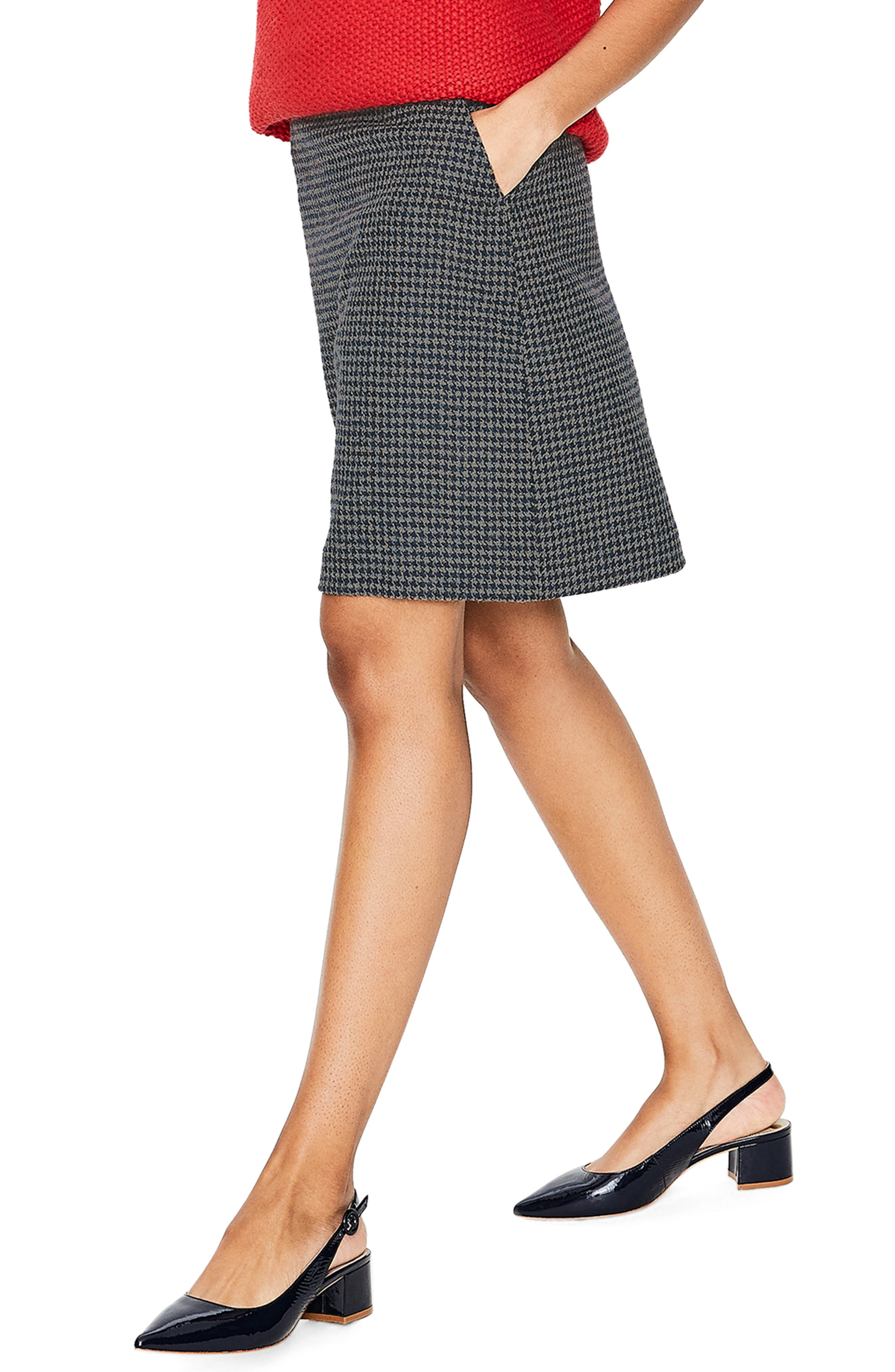 British Tweed Wool Mini Skirt,                             Alternate thumbnail 3, color,                             NAVY/ GREY MARL PUPPYTOOTH