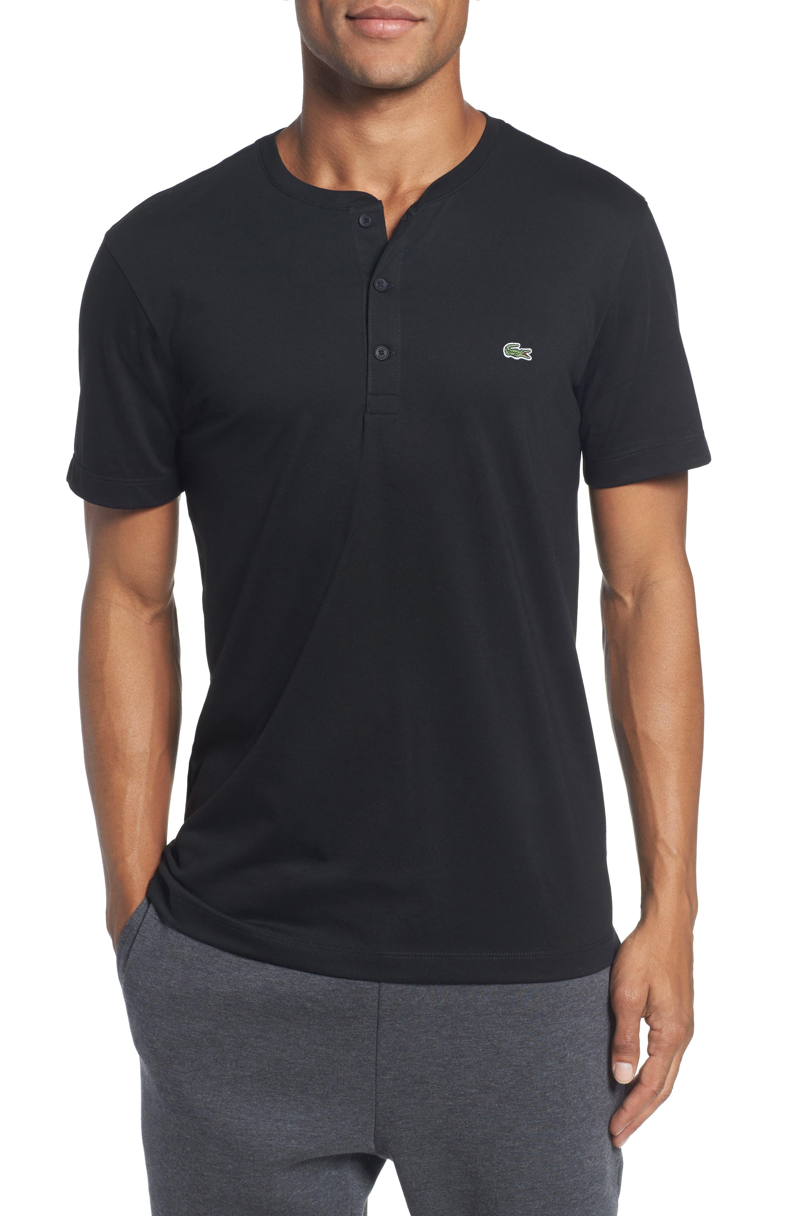 Henley T-Shirt,                         Main,                         color, BLACK