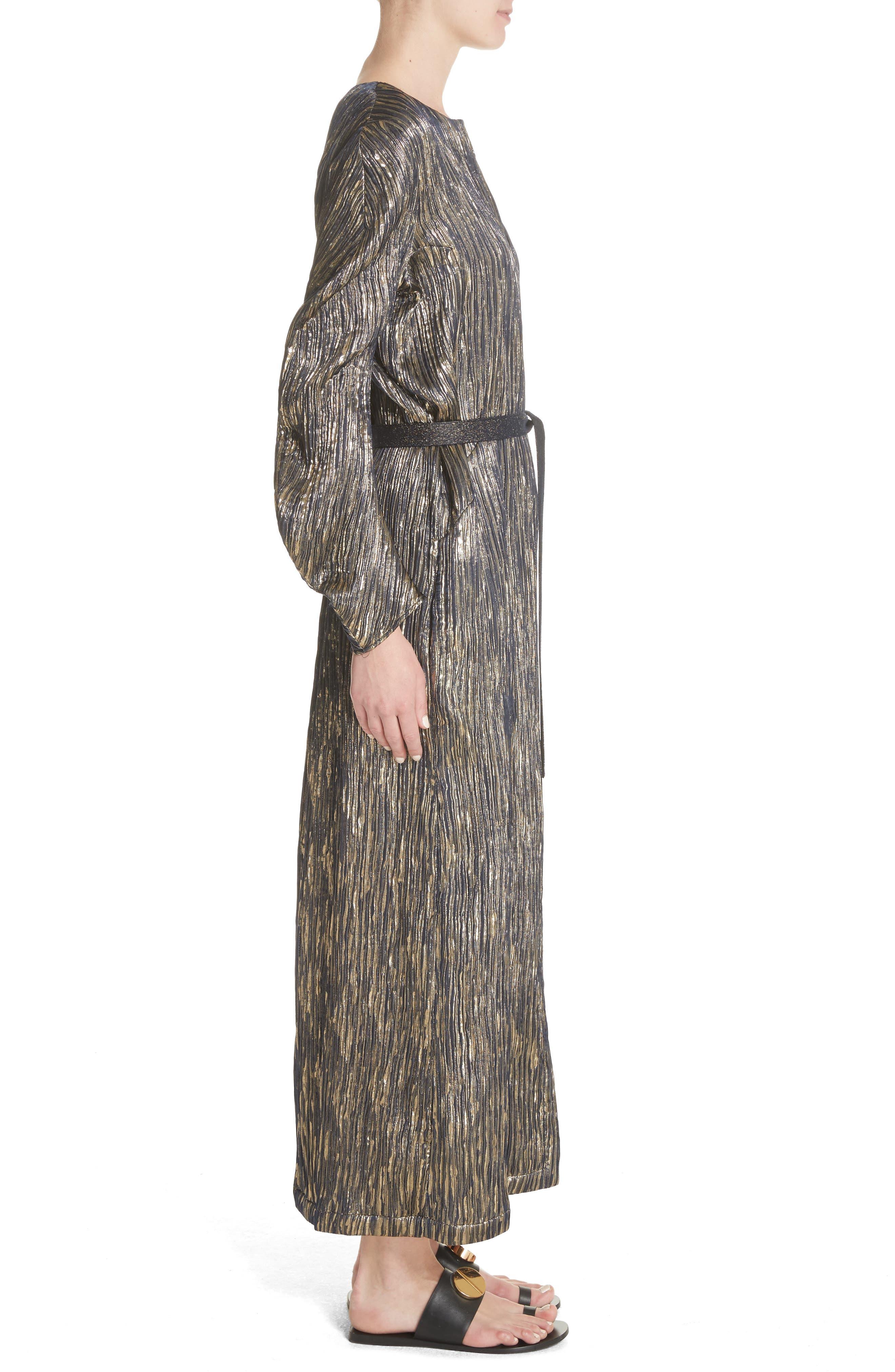 Metallic Silk Blend Midi Dress,                             Alternate thumbnail 3, color,                             004