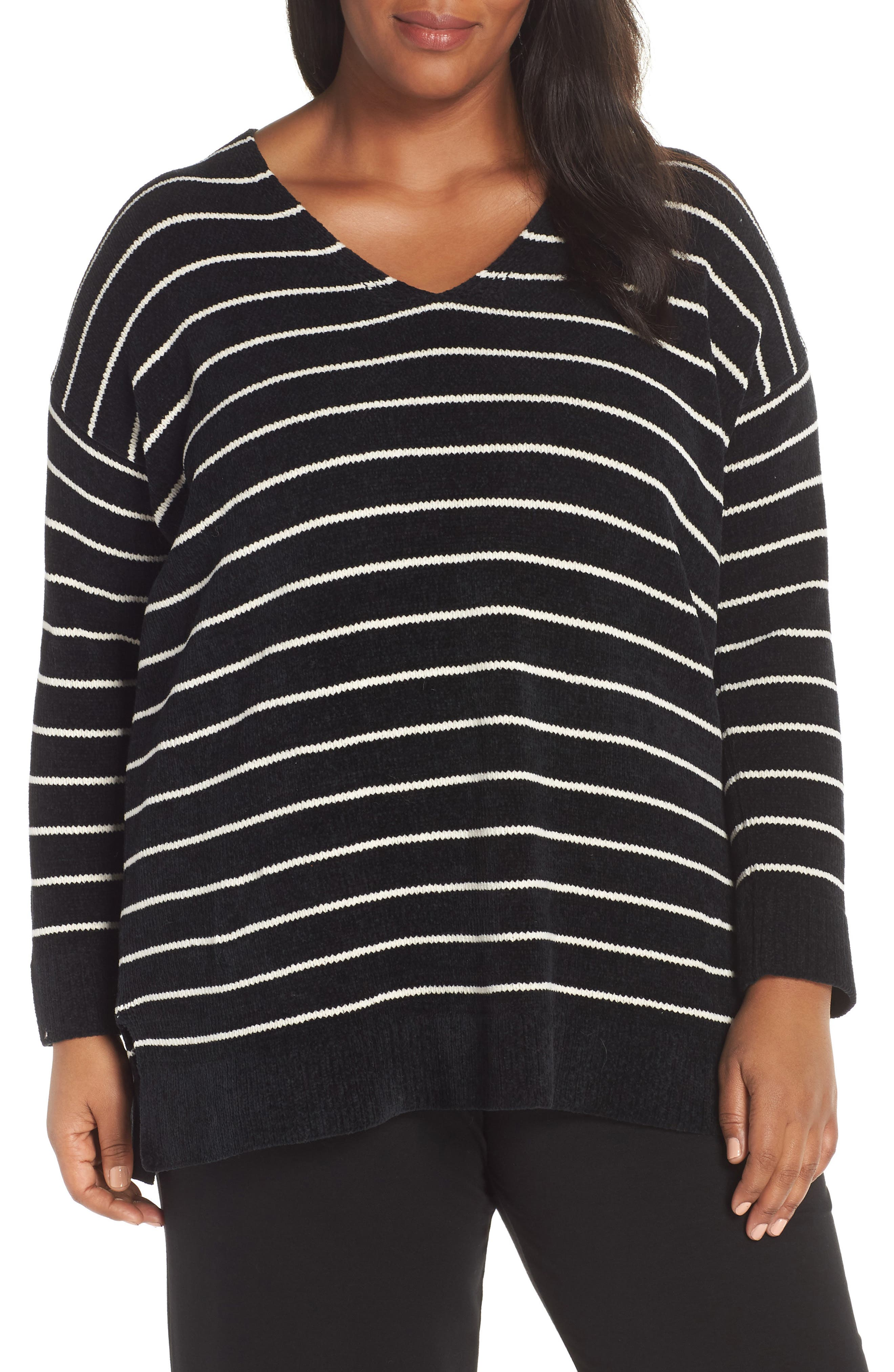 Plus Size Eileen Fisher Stripe Organic Cotton Sweater, Black