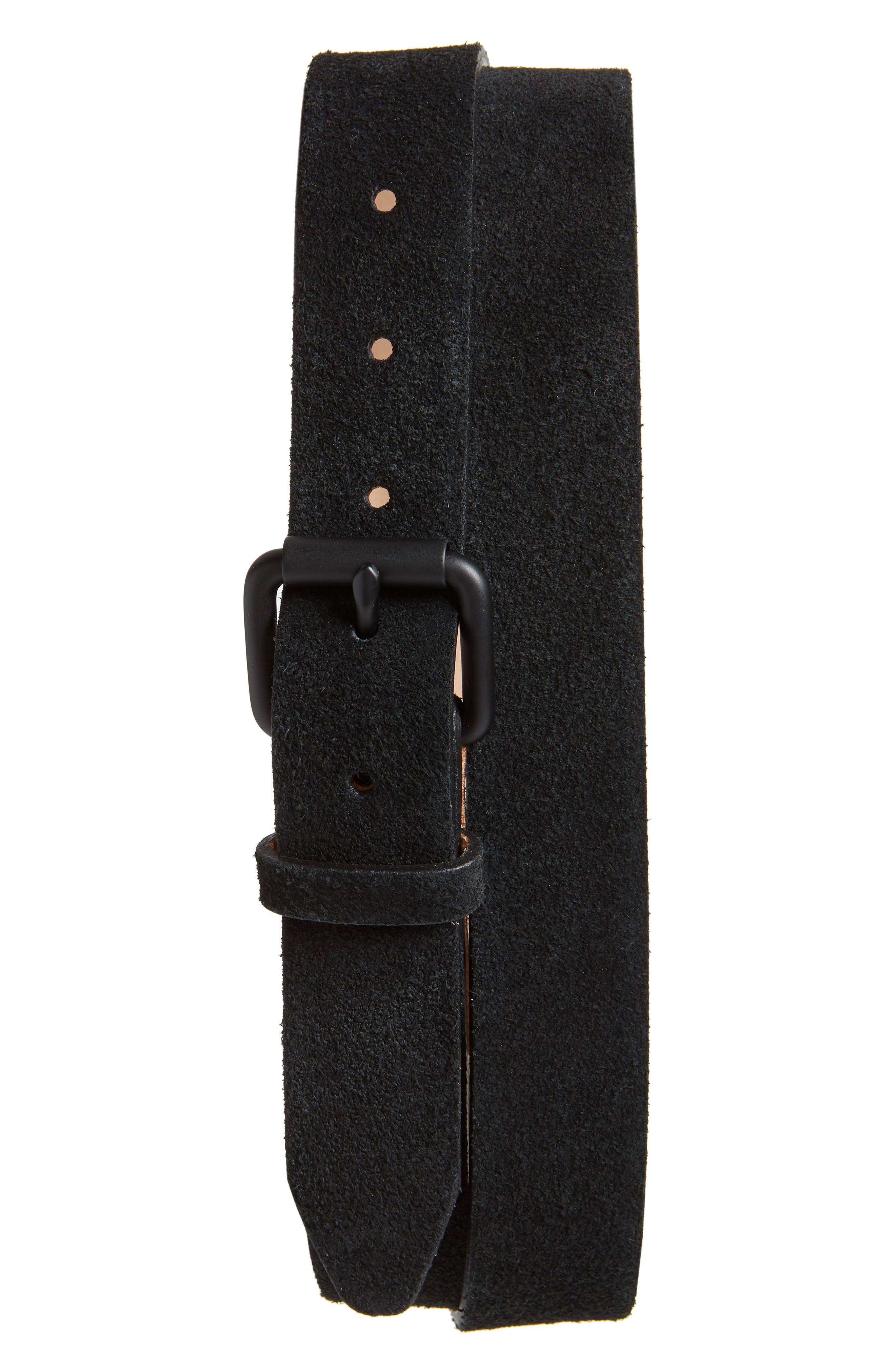 High Pile Suede Belt,                         Main,                         color, BLACK