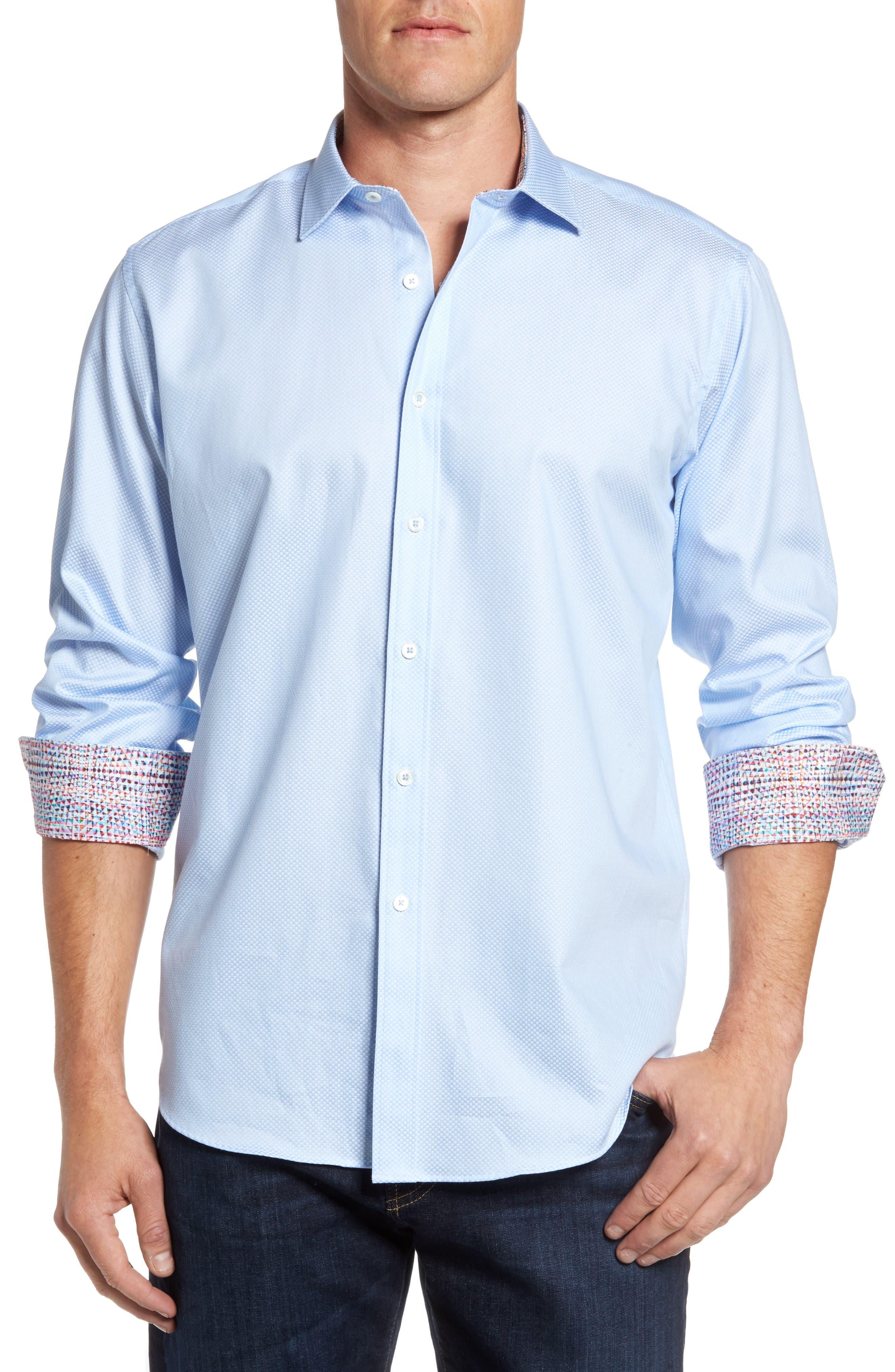 Classic Fit Diamond Print Sport Shirt,                         Main,                         color, 459