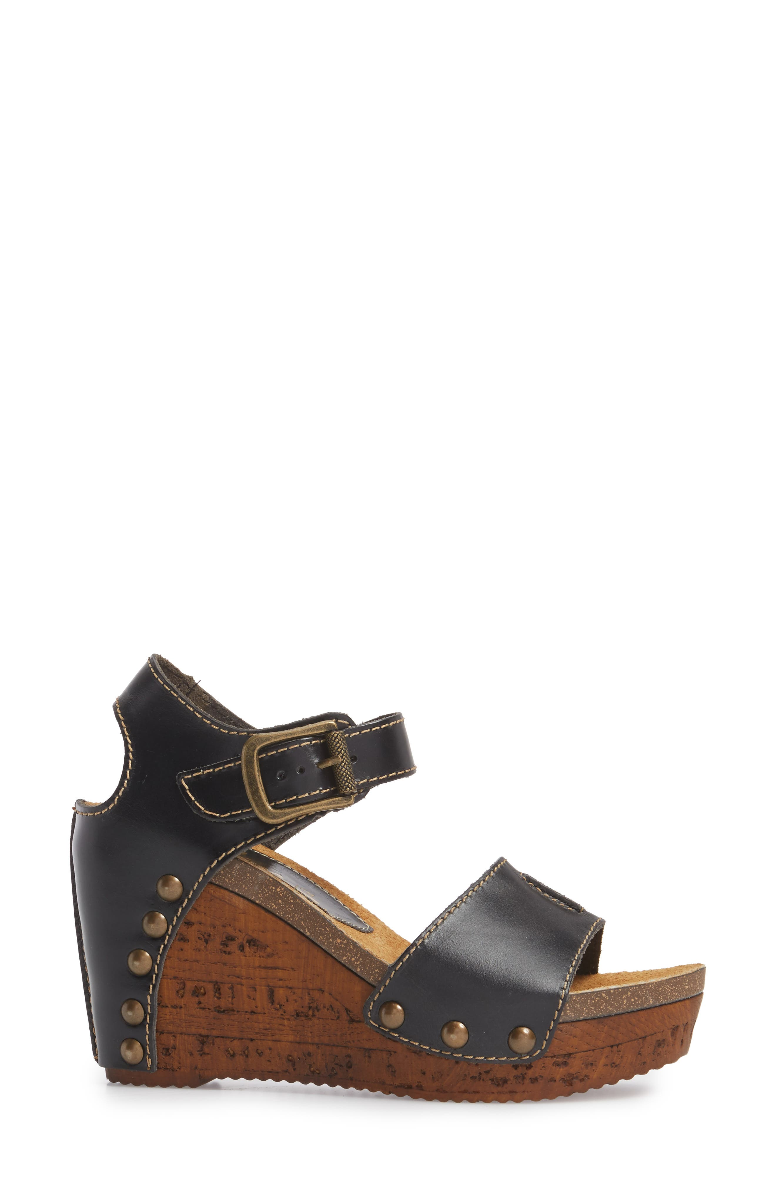 Brella Studded Platform Wedge Sandal,                             Alternate thumbnail 3, color,                             BLACK