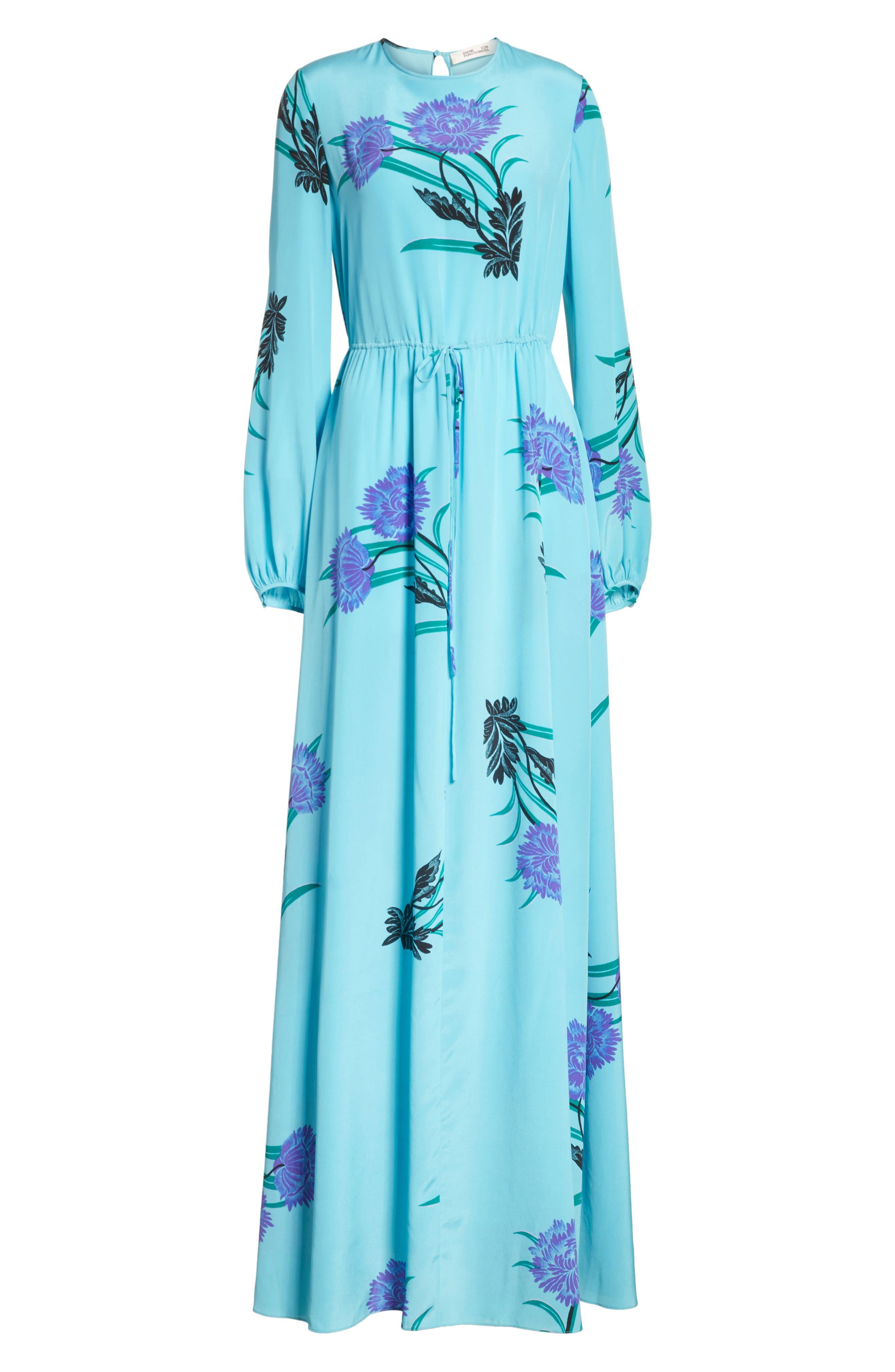 Floral Print Stretch-Silk Maxi Dress,                             Alternate thumbnail 6, color,                             445