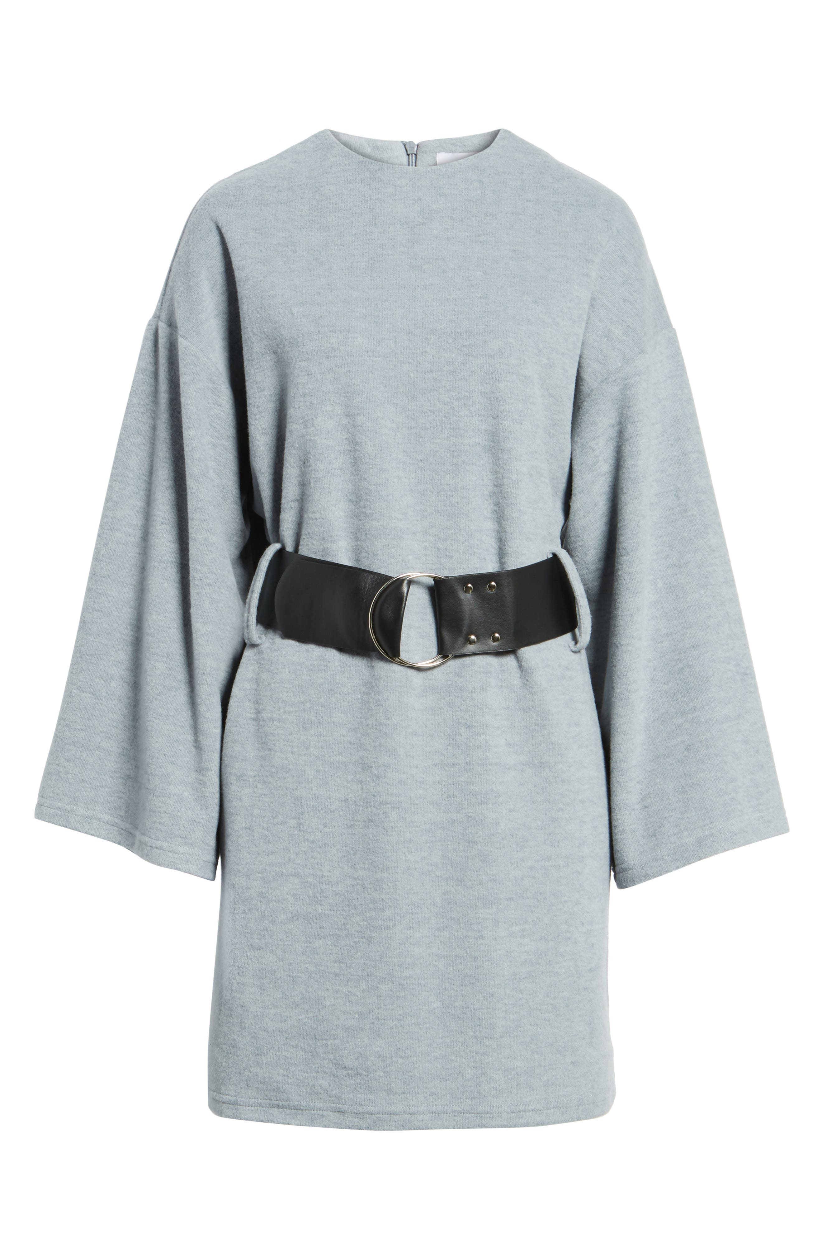Belted Bell Sleeve Sweater Dress,                             Alternate thumbnail 6, color,                             020