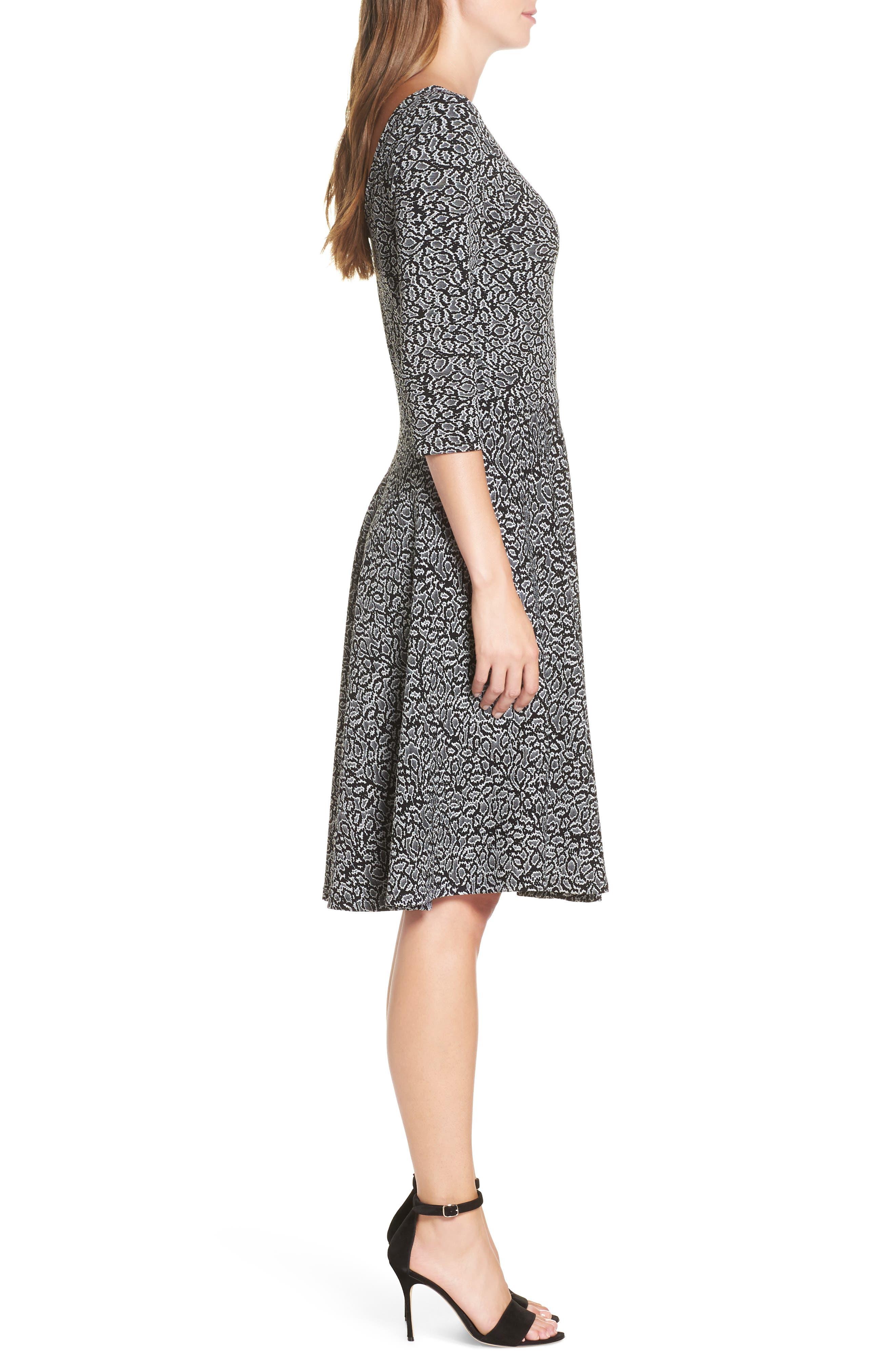 Circle Knit Fit & Flare Dress,                             Alternate thumbnail 3, color,                             013