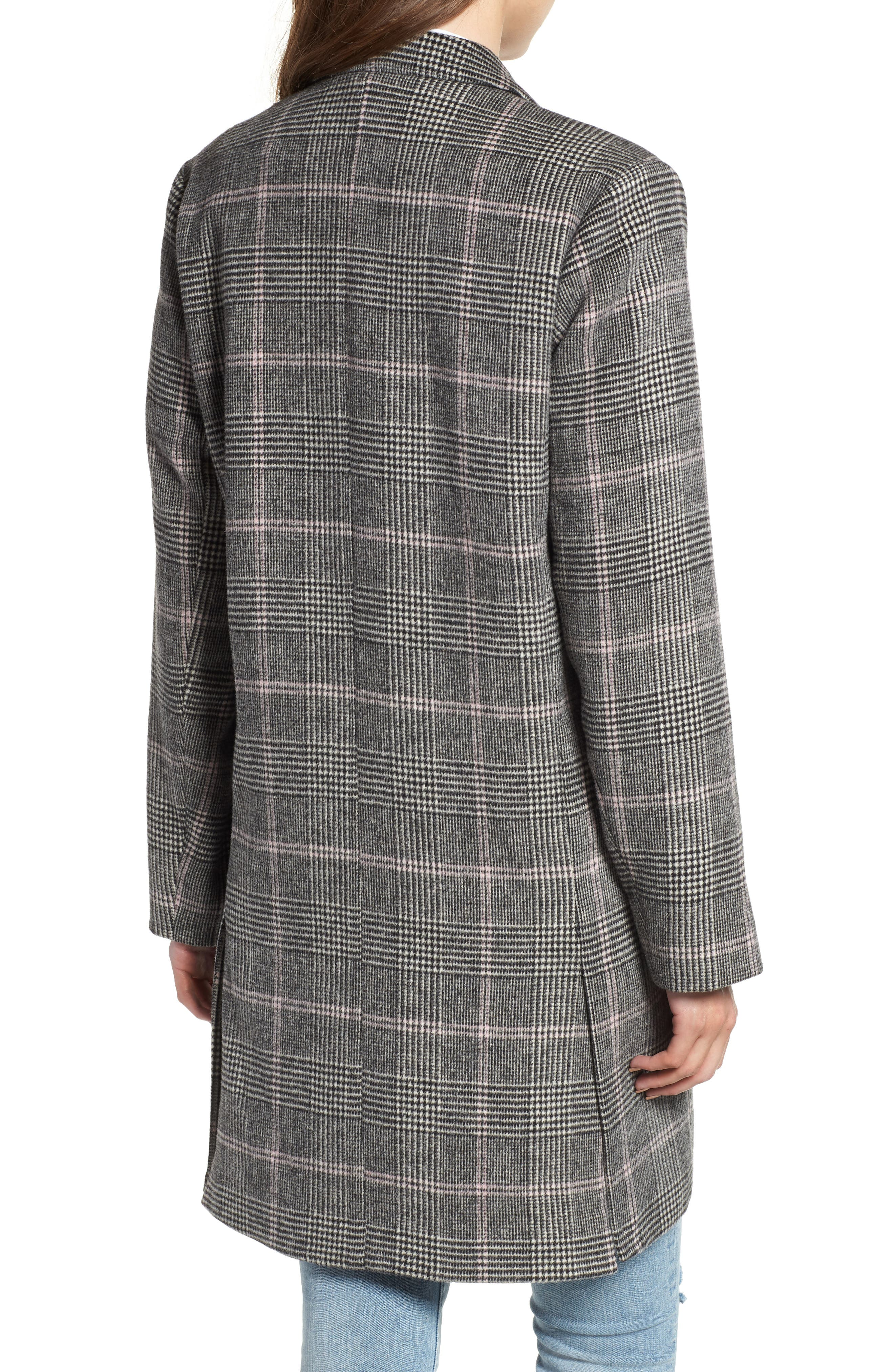 Anders Plaid Coat,                             Alternate thumbnail 3, color,                             CHARCOAL PINK PLAID