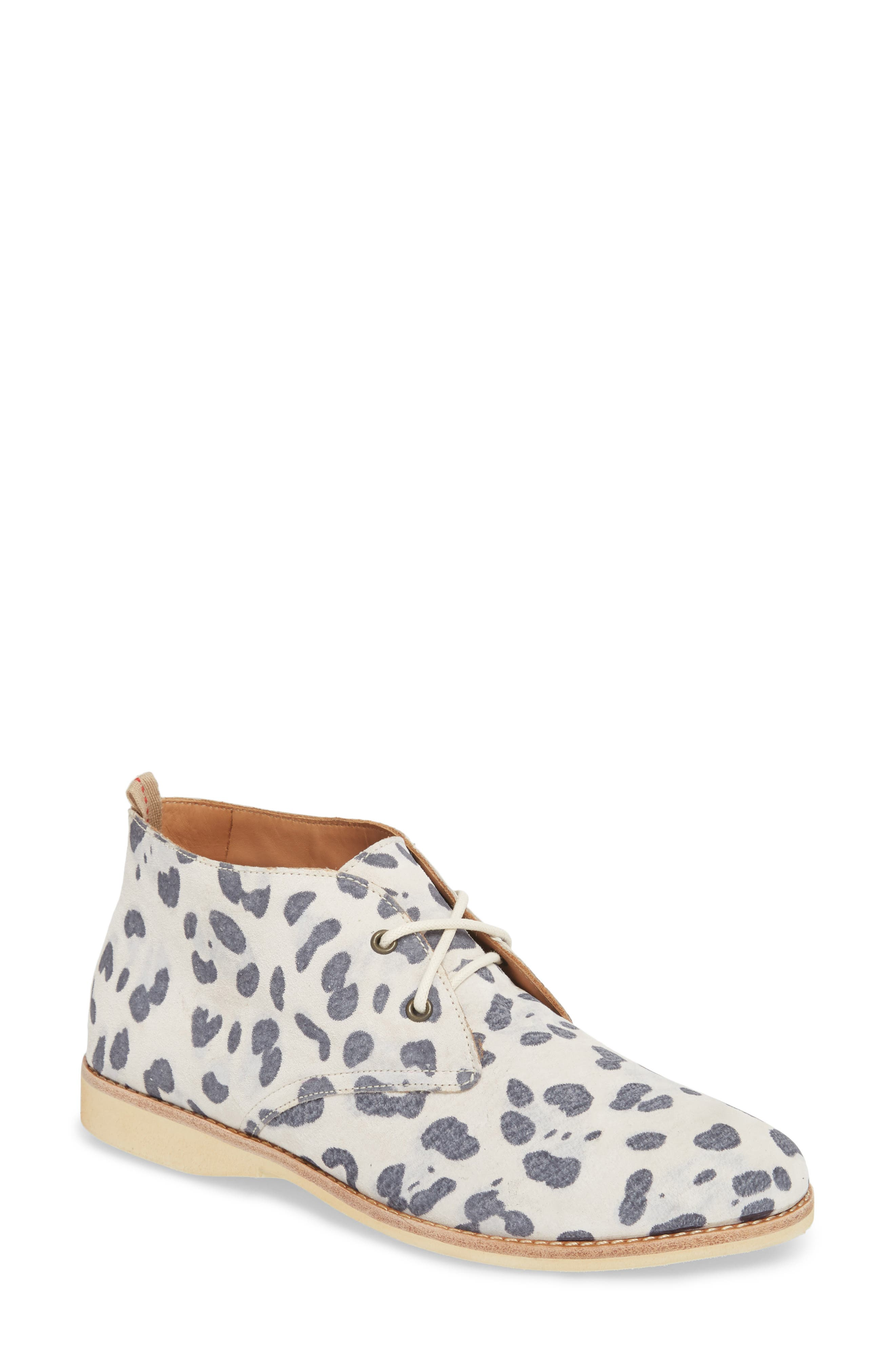 Chukka Bootie,                             Main thumbnail 1, color,                             GREY LEOPARD SUEDE