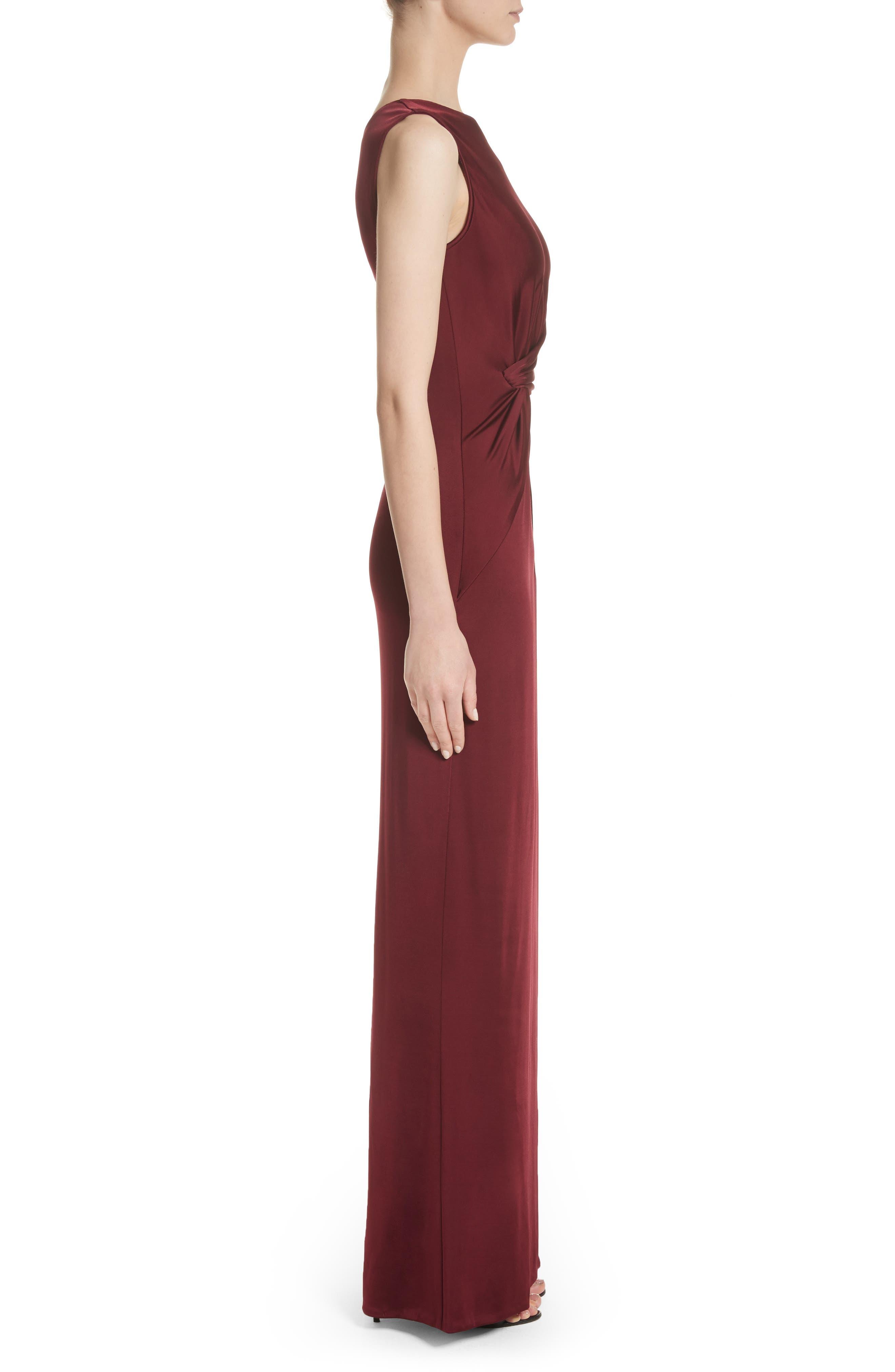 One-Shoulder Twist Gown,                             Alternate thumbnail 3, color,                             AUBURN