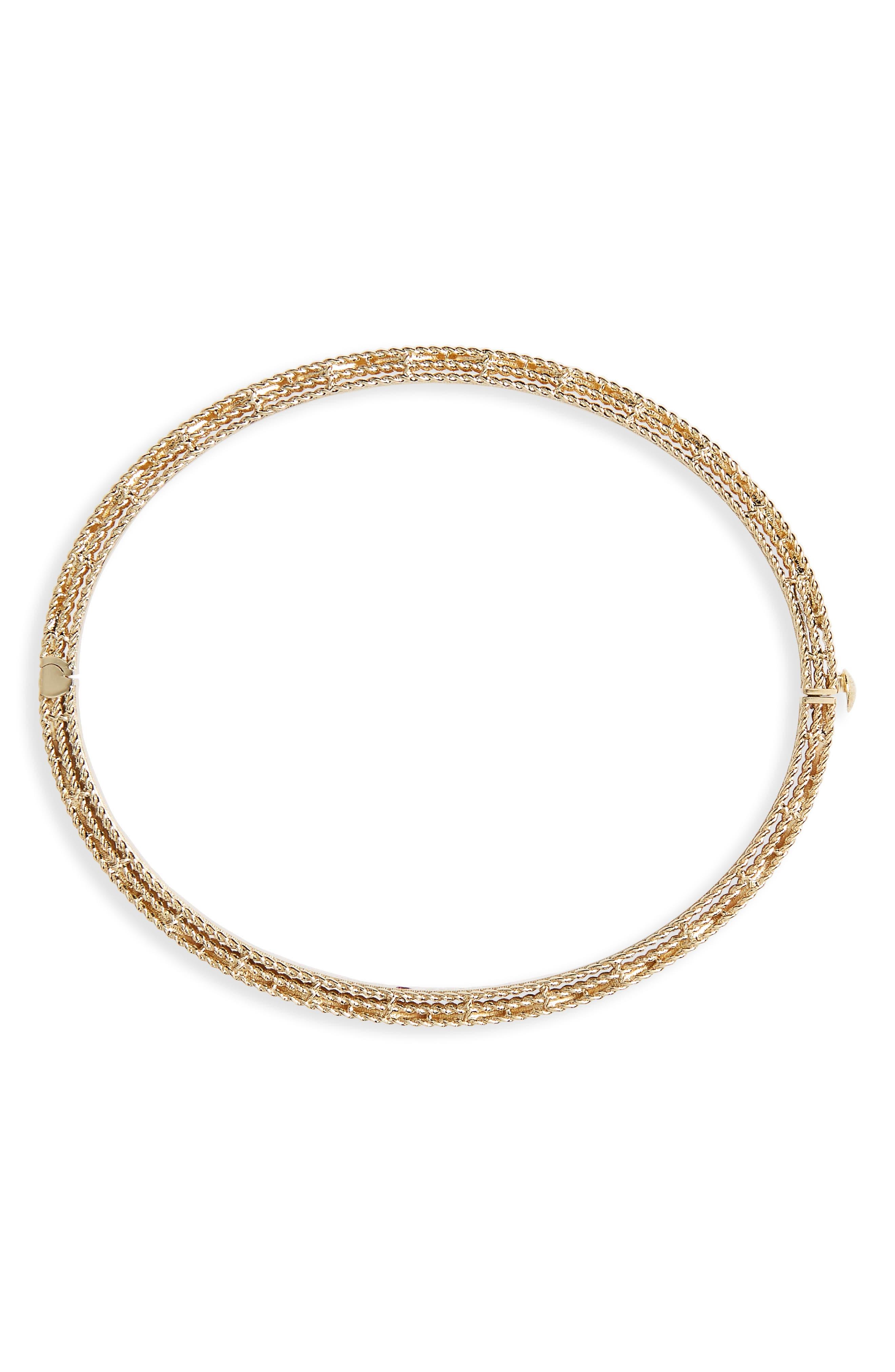 ROBERTO COIN,                             Princess Diamond Bracelet,                             Alternate thumbnail 3, color,                             YELLOW GOLD