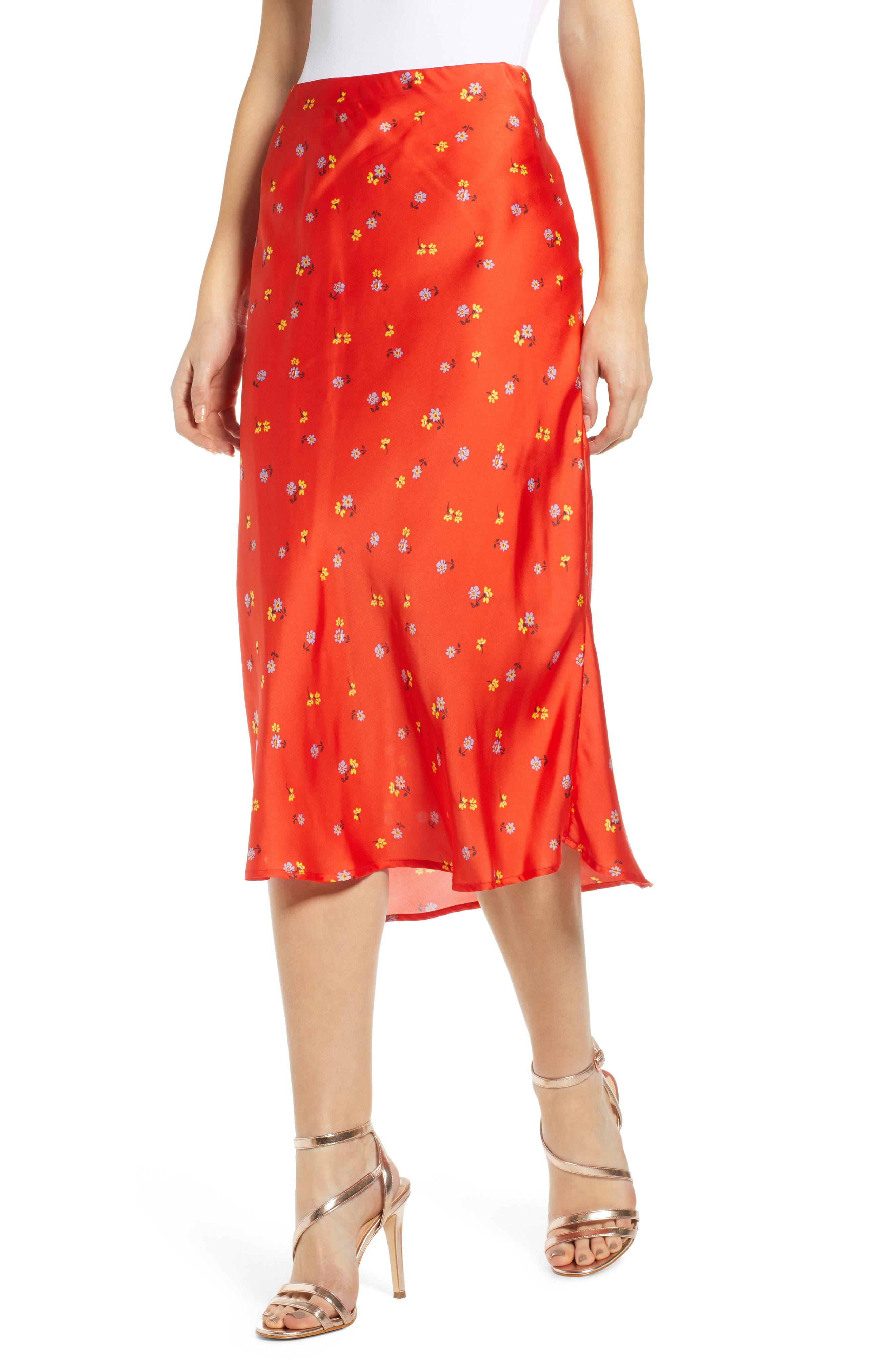 Leith Satin Midi Skirt, Red