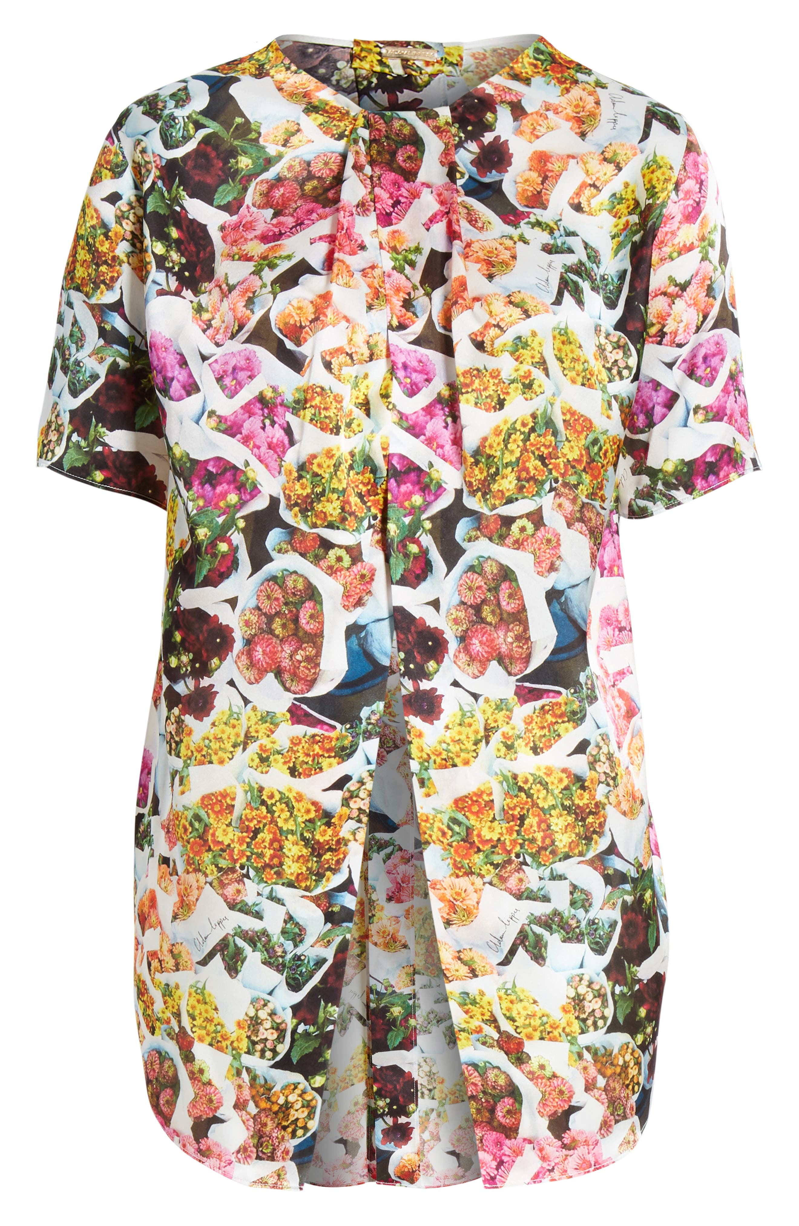 ADAM LIPPES,                             Floral Print Satin Top,                             Alternate thumbnail 6, color,                             FLORAL MULTI