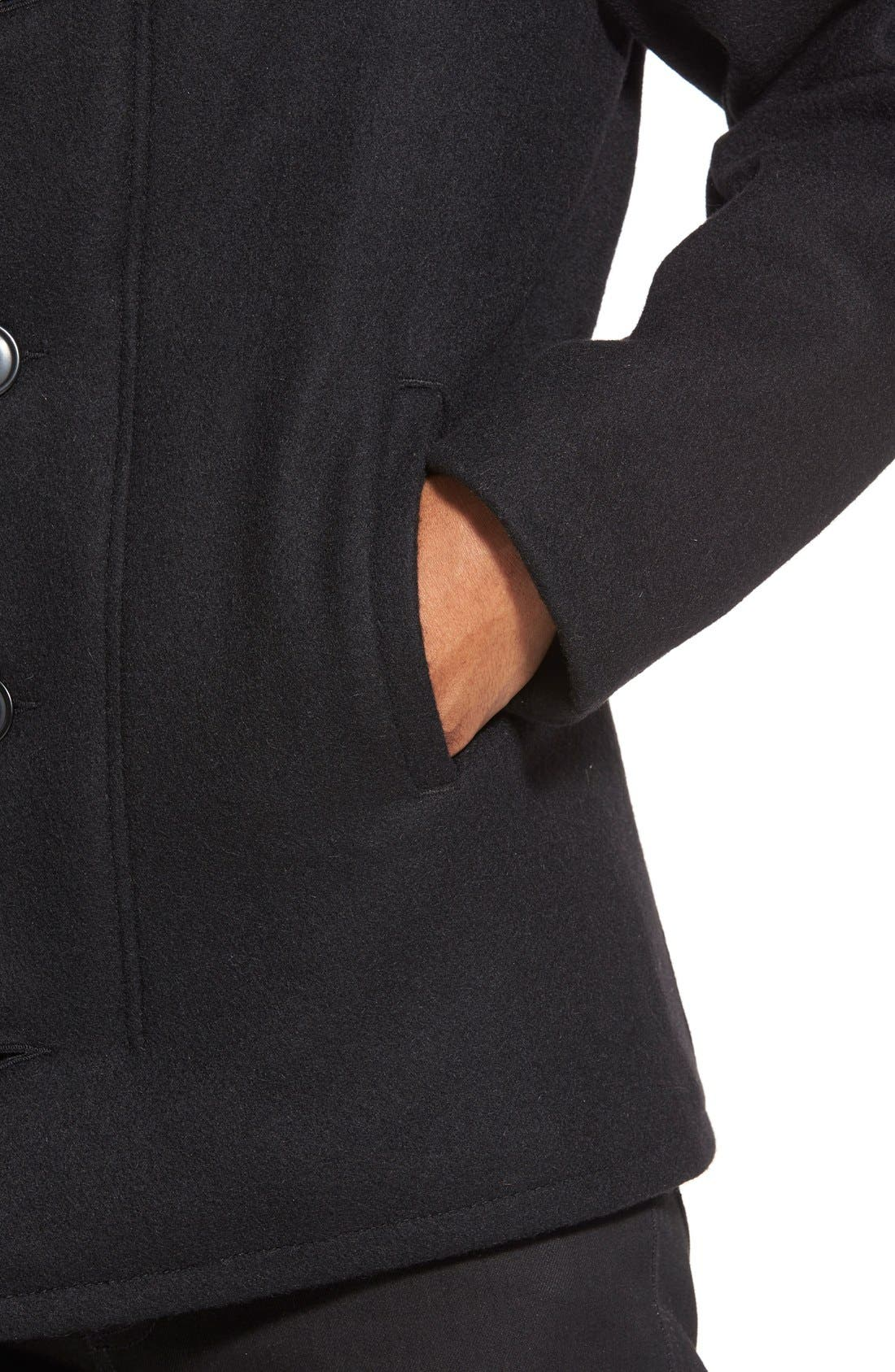 Slim Fit Wool Military Jacket,                             Alternate thumbnail 4, color,                             001