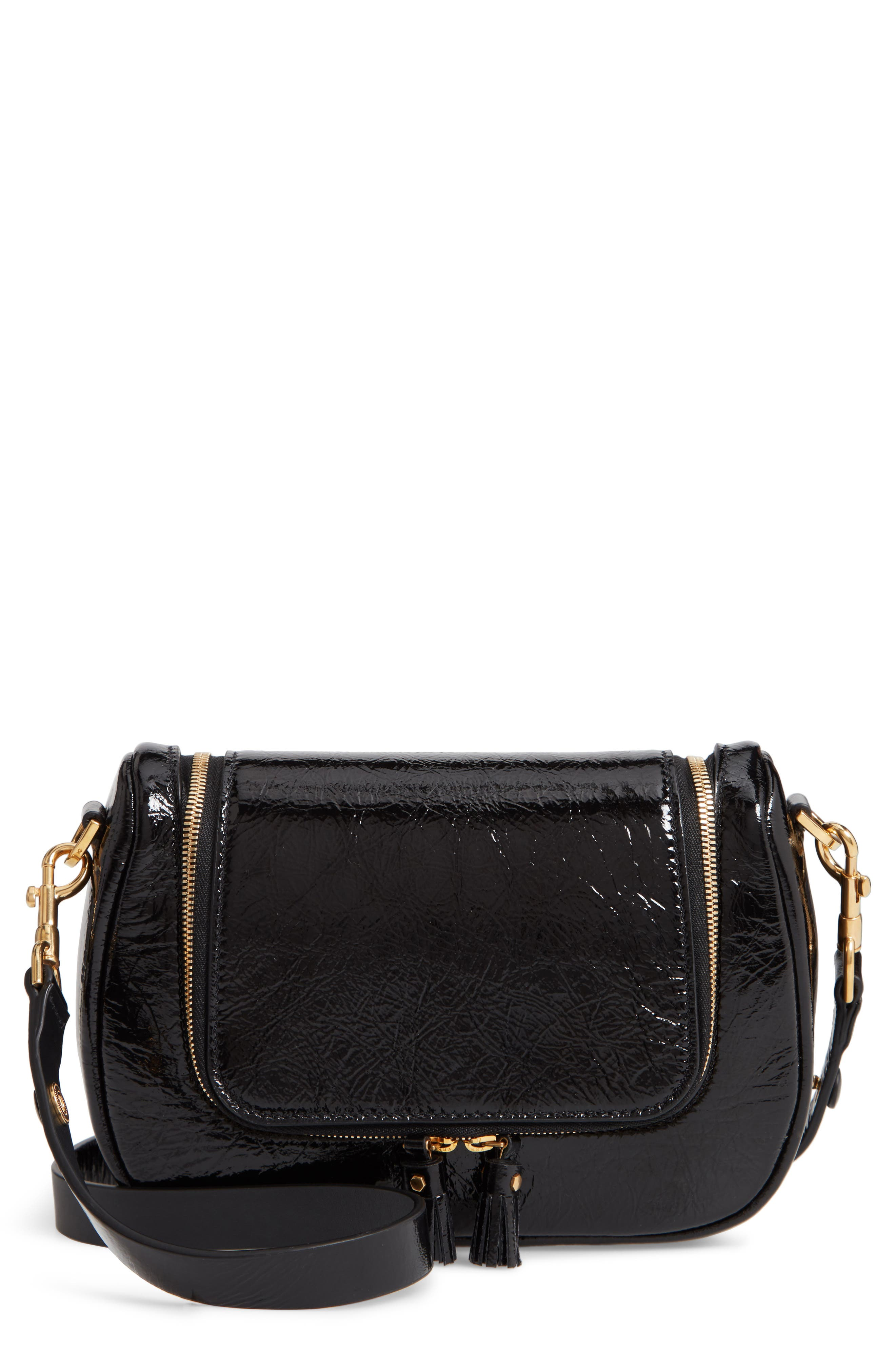 Small Vere Lambskin Leather Crossbody Satchel,                         Main,                         color, BLACK